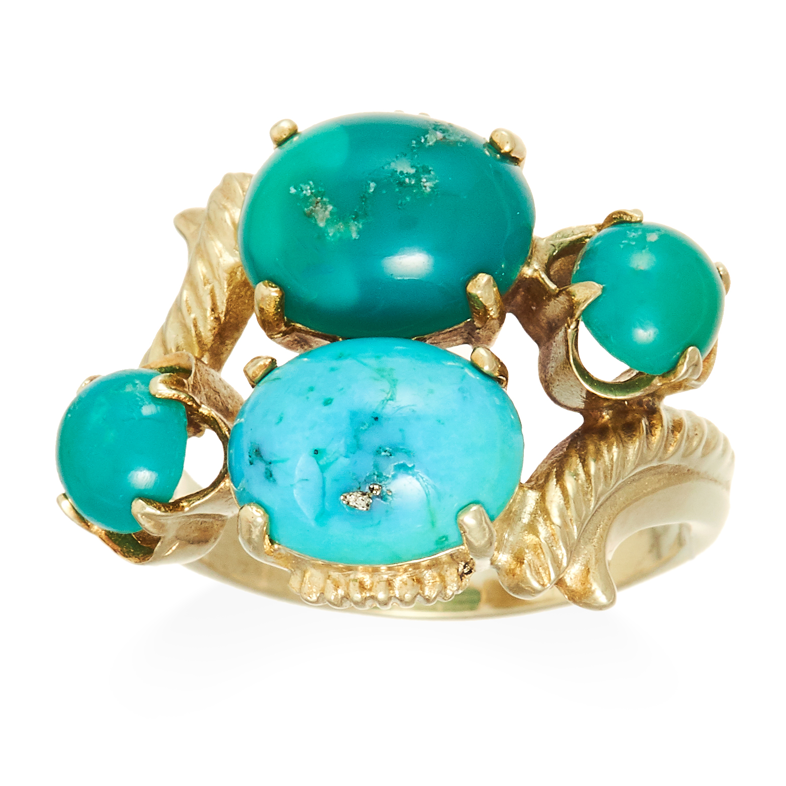 A TURQUOISE DRESS RING in high carat yellow gold, set with four turquoise cabochons between