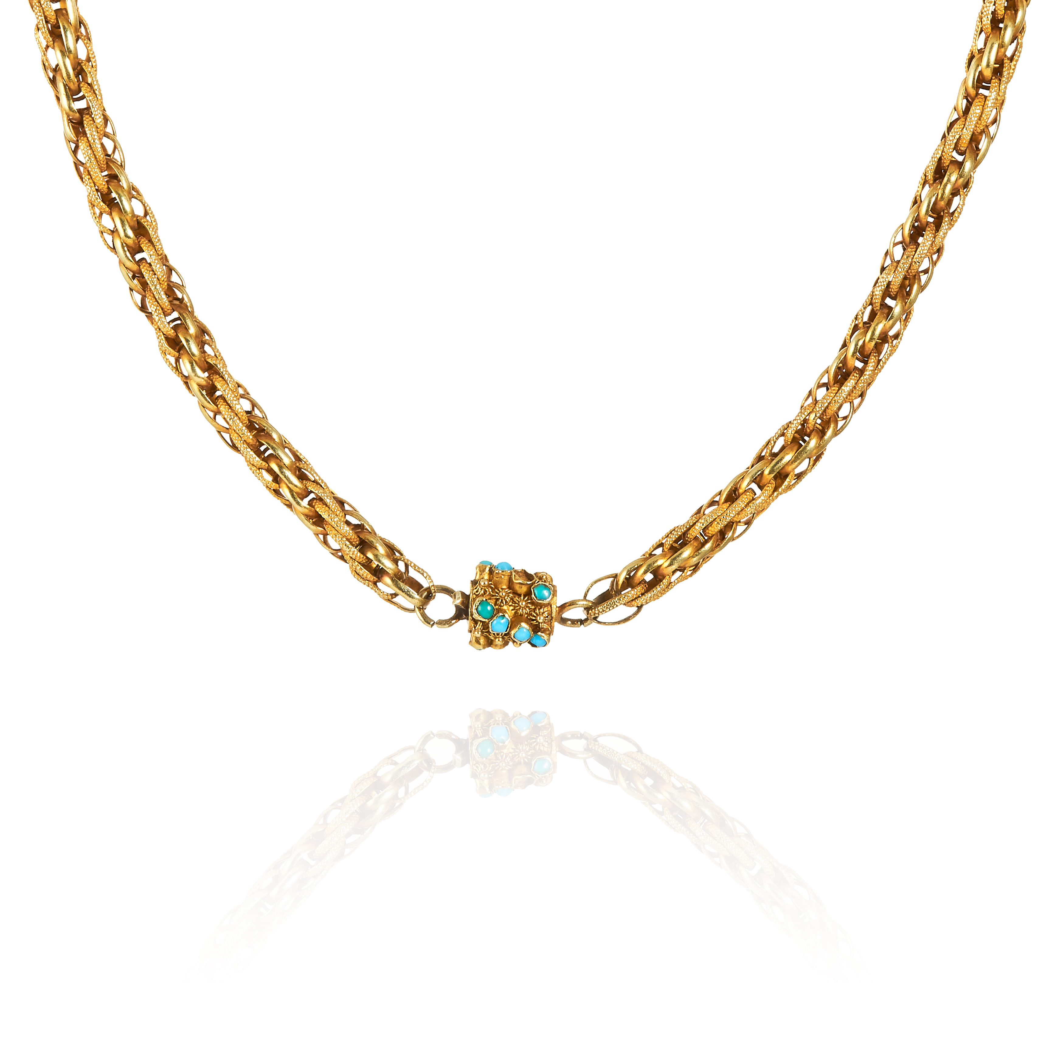AN ANTIQUE TURQUOISE NECKLACE / BRACELET in high carat yellow gold, comprising of interwoven gold