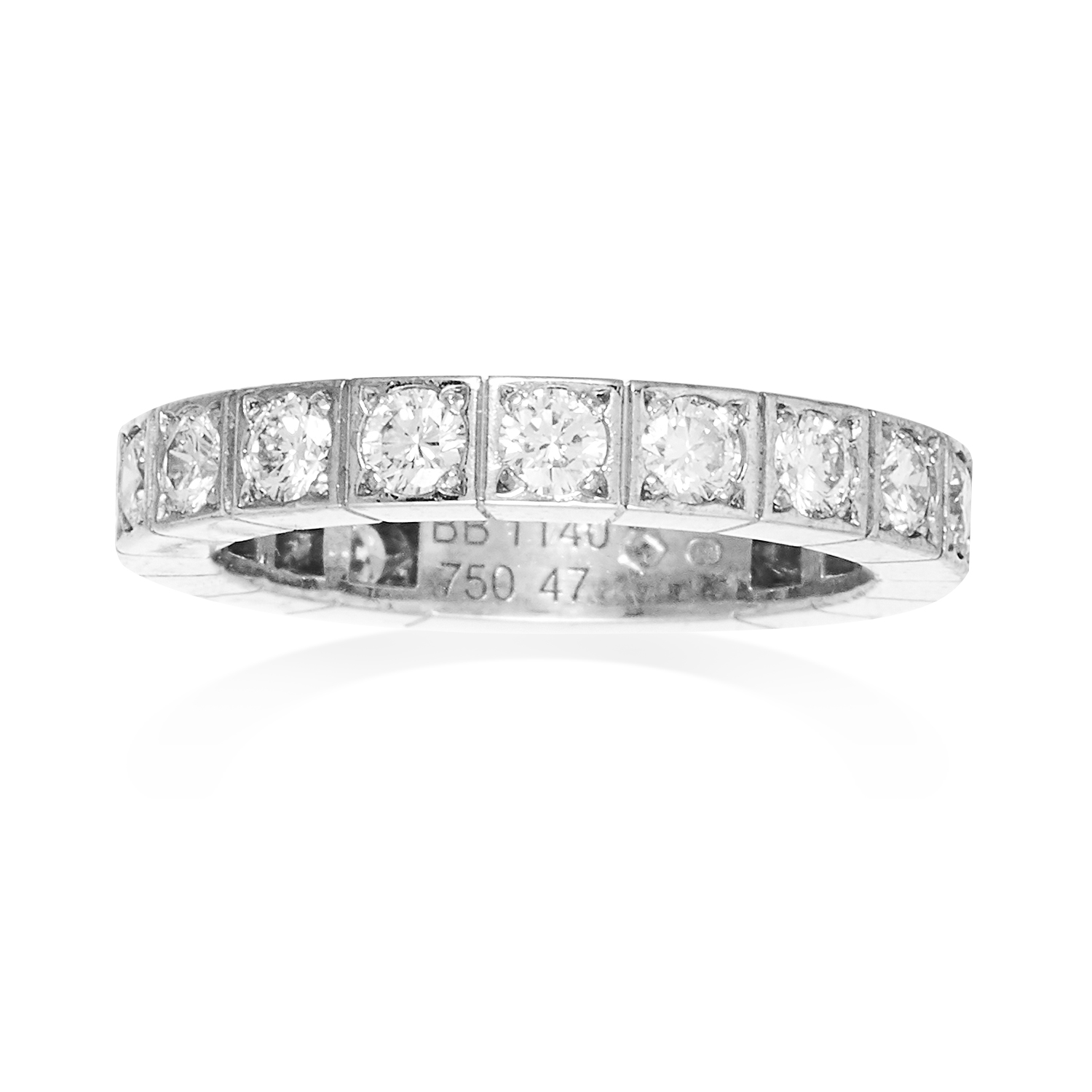 A DIAMOND ETERNITY RING, CARTIER in 18ct white gold, set with a single row of diamonds totalling 1.0
