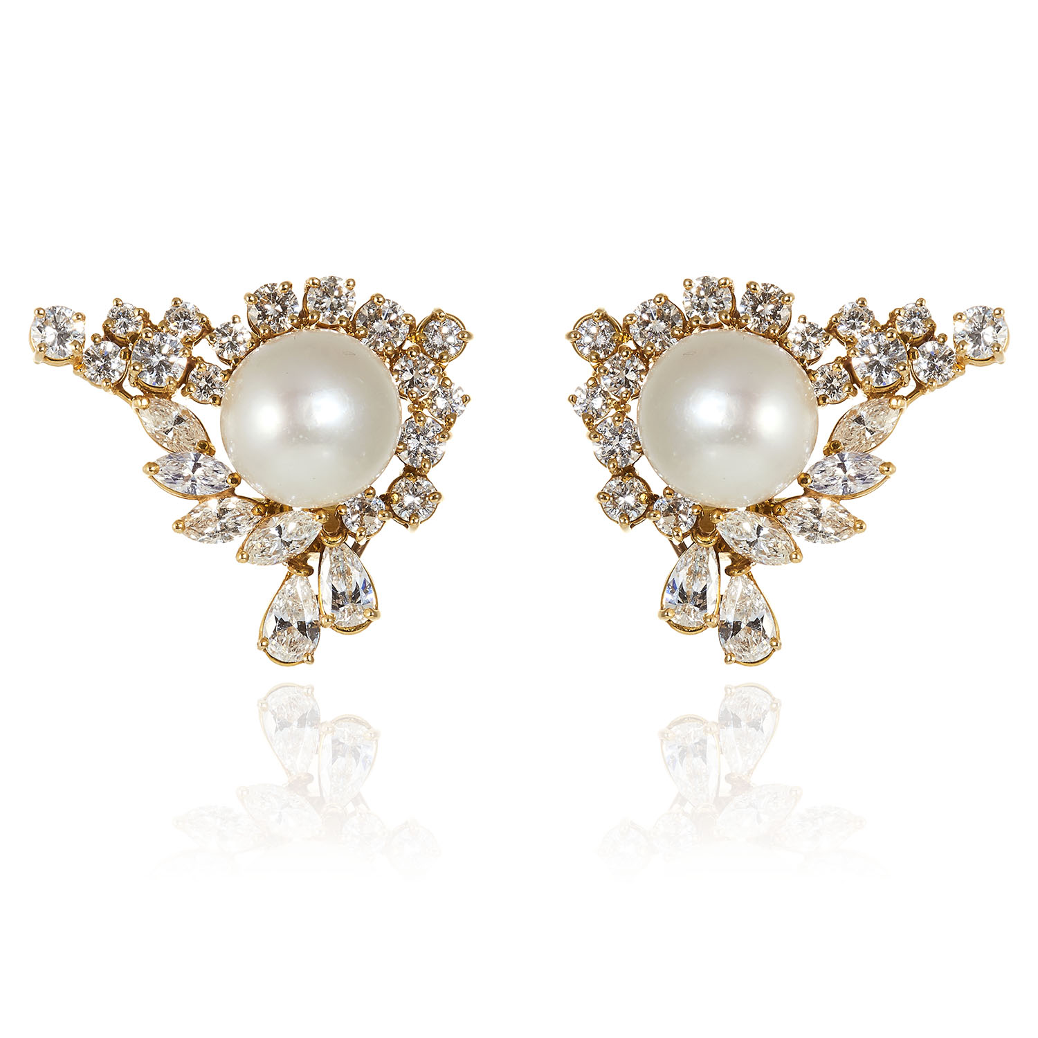 A PAIR OF VINTAGE PEARL AND DIAMOND EARRINGS in 18ct yellow gold, each comprising of central pearl