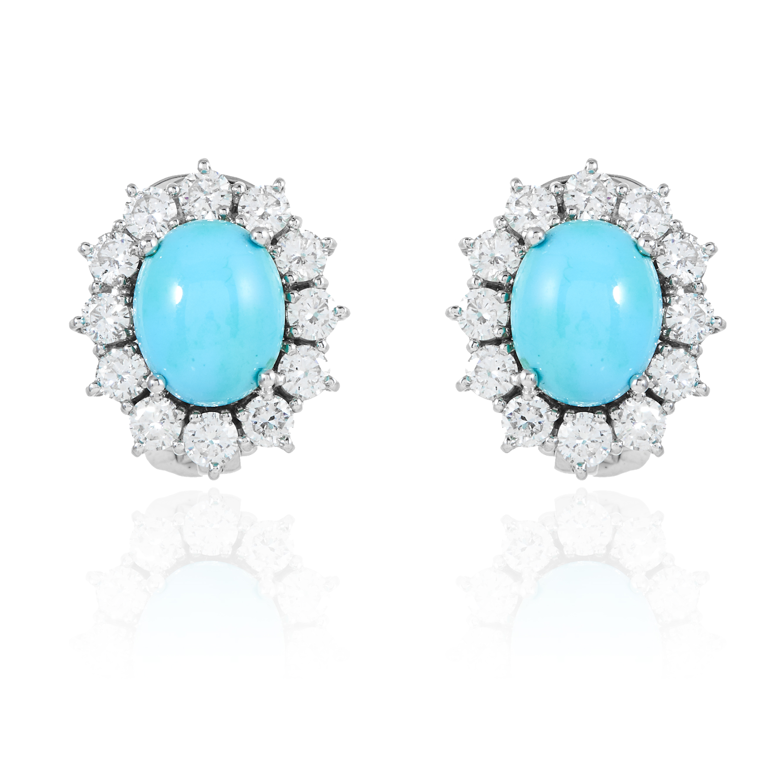 A PAIR OF TURQUOISE AND DIAMOND CLUSTER EARRINGS, in gold or platinum, each set with a cabochon