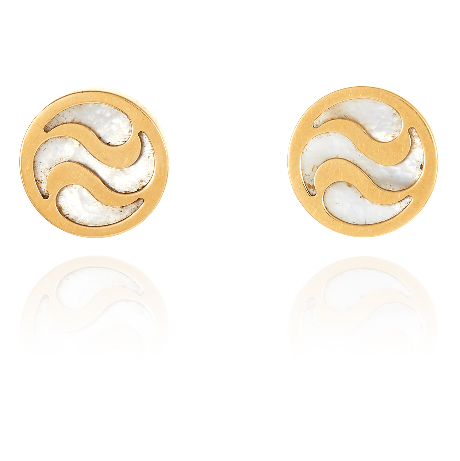 A PAIR OF MOTHER OF PEARL STUD EARRINGS, BVLGARI in 18ct yellow gold, jewelled with mother of