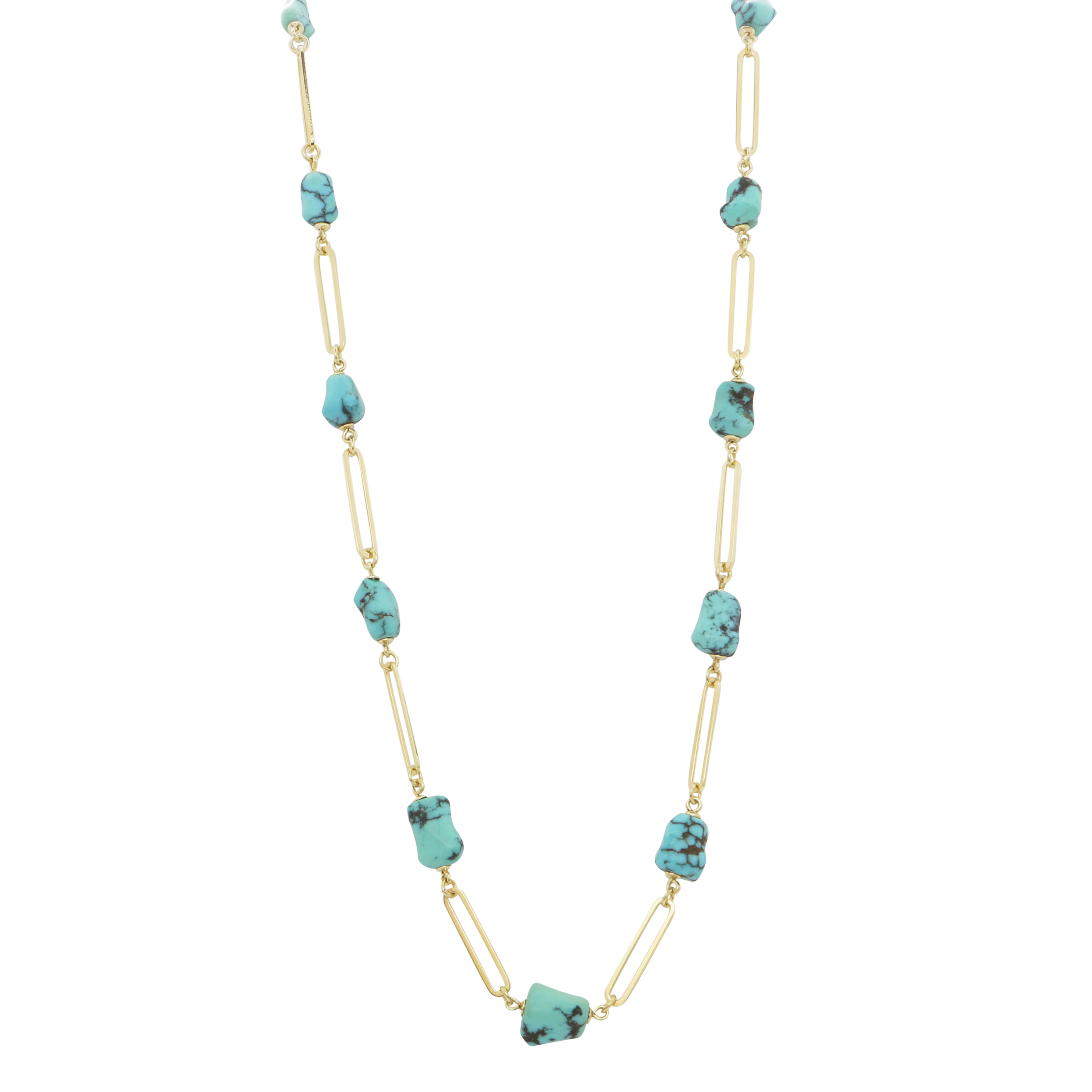 A TURQUOISE FANCY LINK NECKLACE in 14ct yellow gold, the elongated link chain punctuated by thirteen
