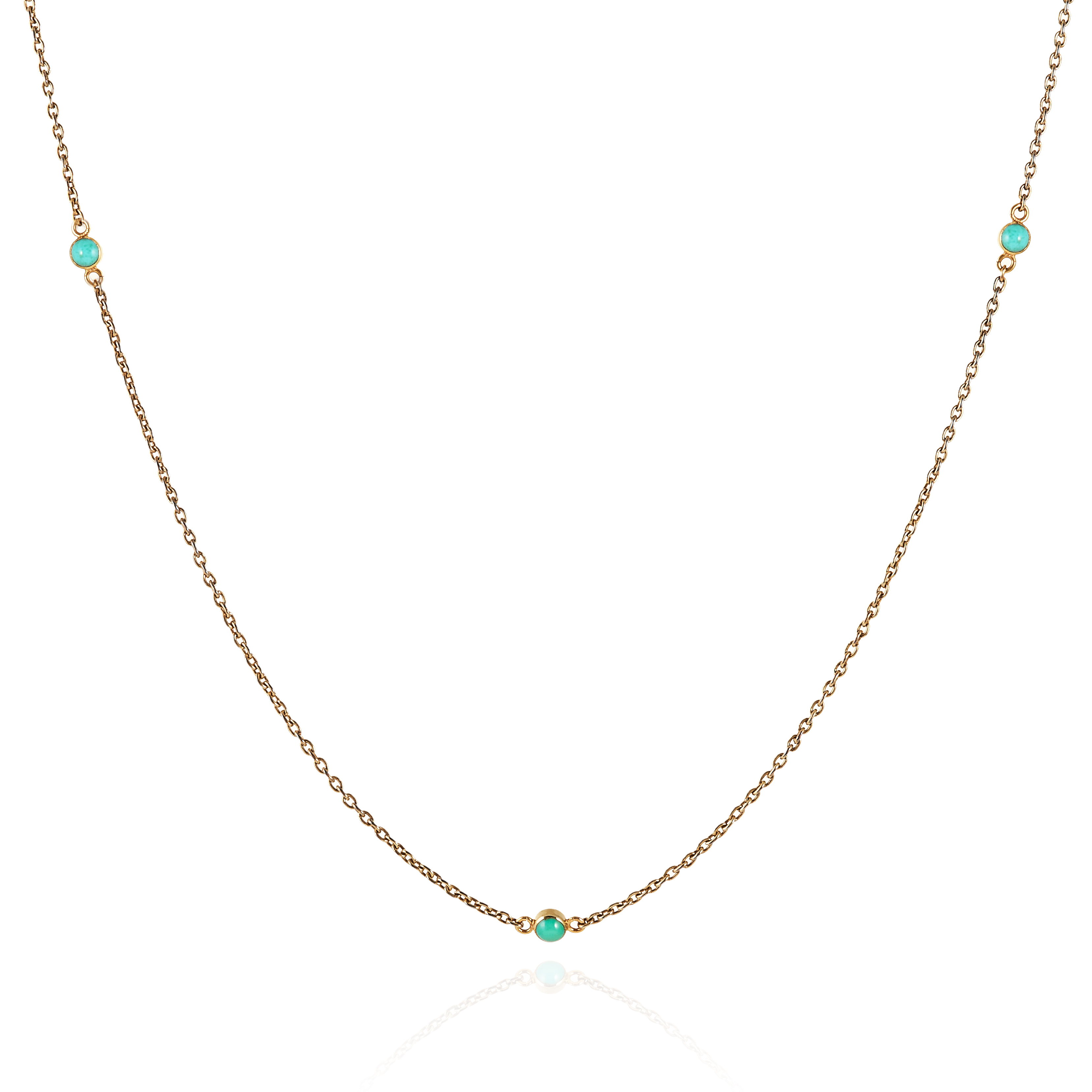 AN ANTIQUE TURQUOISE SPECTACLE CHAIN in 15ct yellow gold, set with twelve cabochon turquoise links