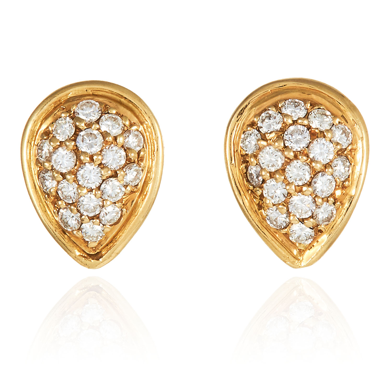 A PAIR OF DIAMOND STUD EARRINGS in high carat yellow gold, designed as pear drop shape jewelled with