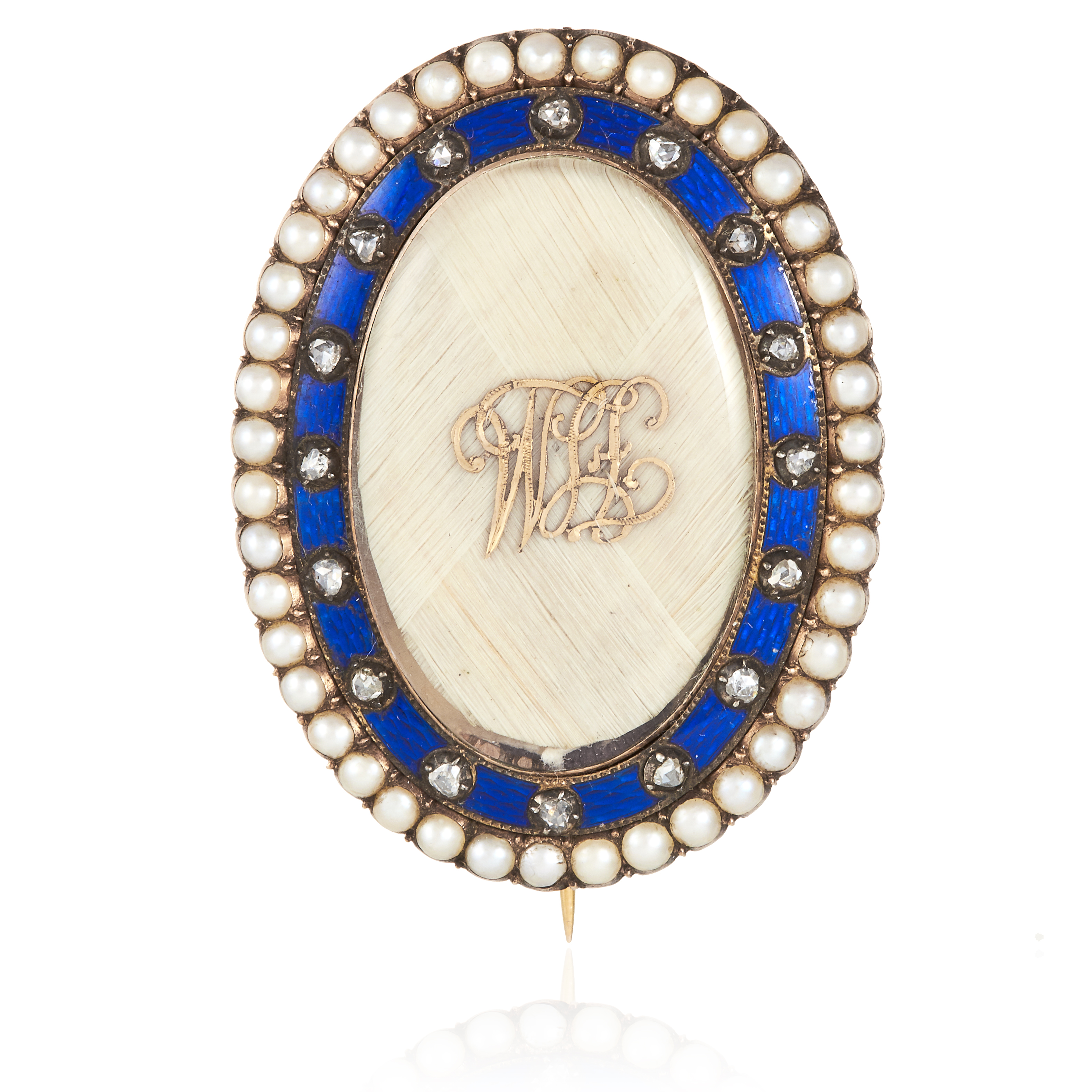 Los 18 - AN ANTIQUE PEARL, DIAMOND HAIRWORK AND ENAMEL MOURNING BROOCH in high carat yellow gold, oval