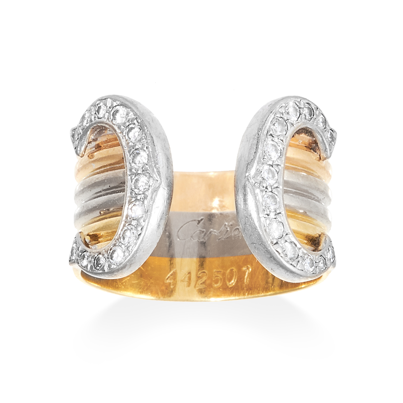A C DE CARTIER DIAMOND RING, CARTIER in 18ct yellow, white and rose gold, designed as a three colour