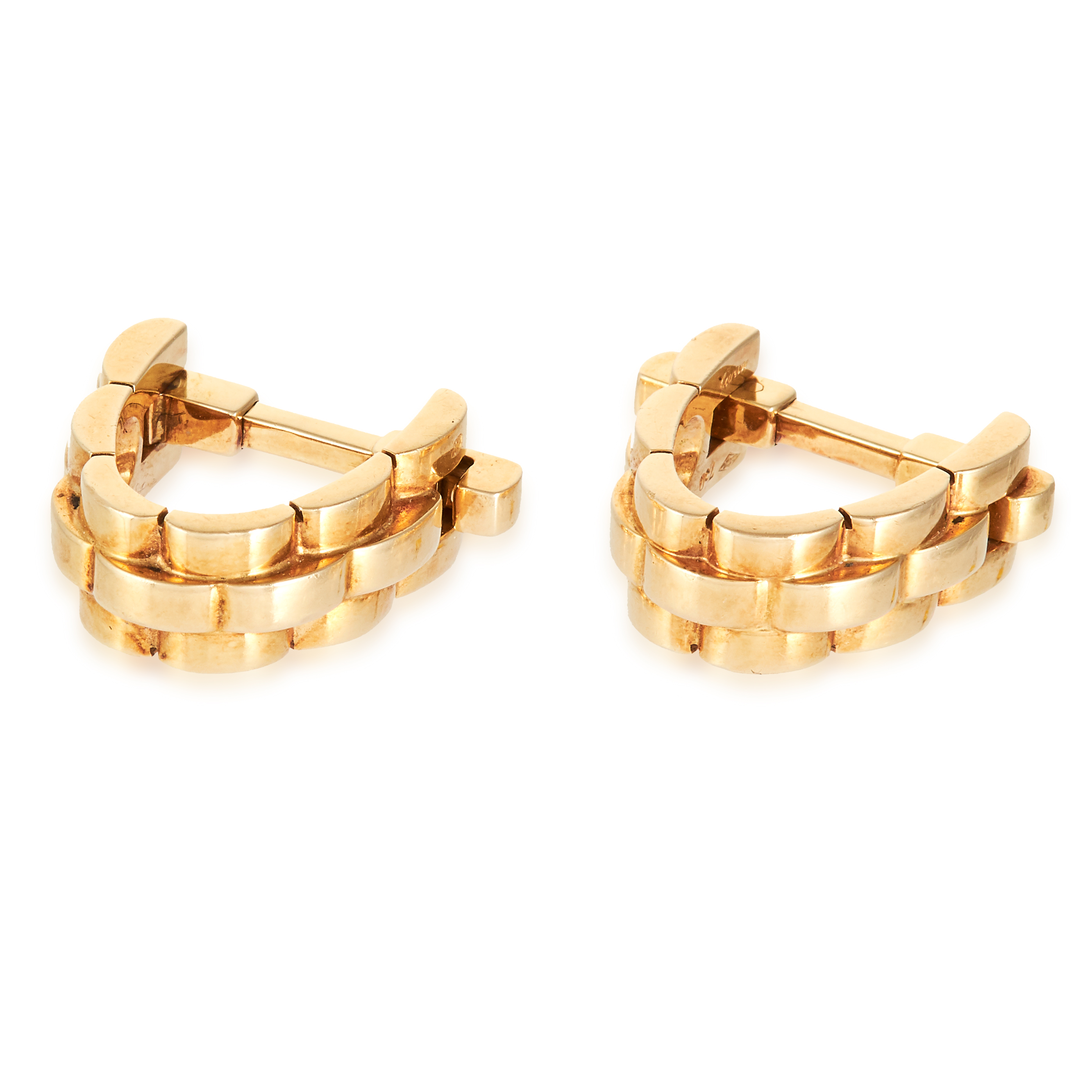 A PAIR OF CUFFLINKS BY CARTIER in 18ct yellow gold, with tapered designs, signed Cartier and