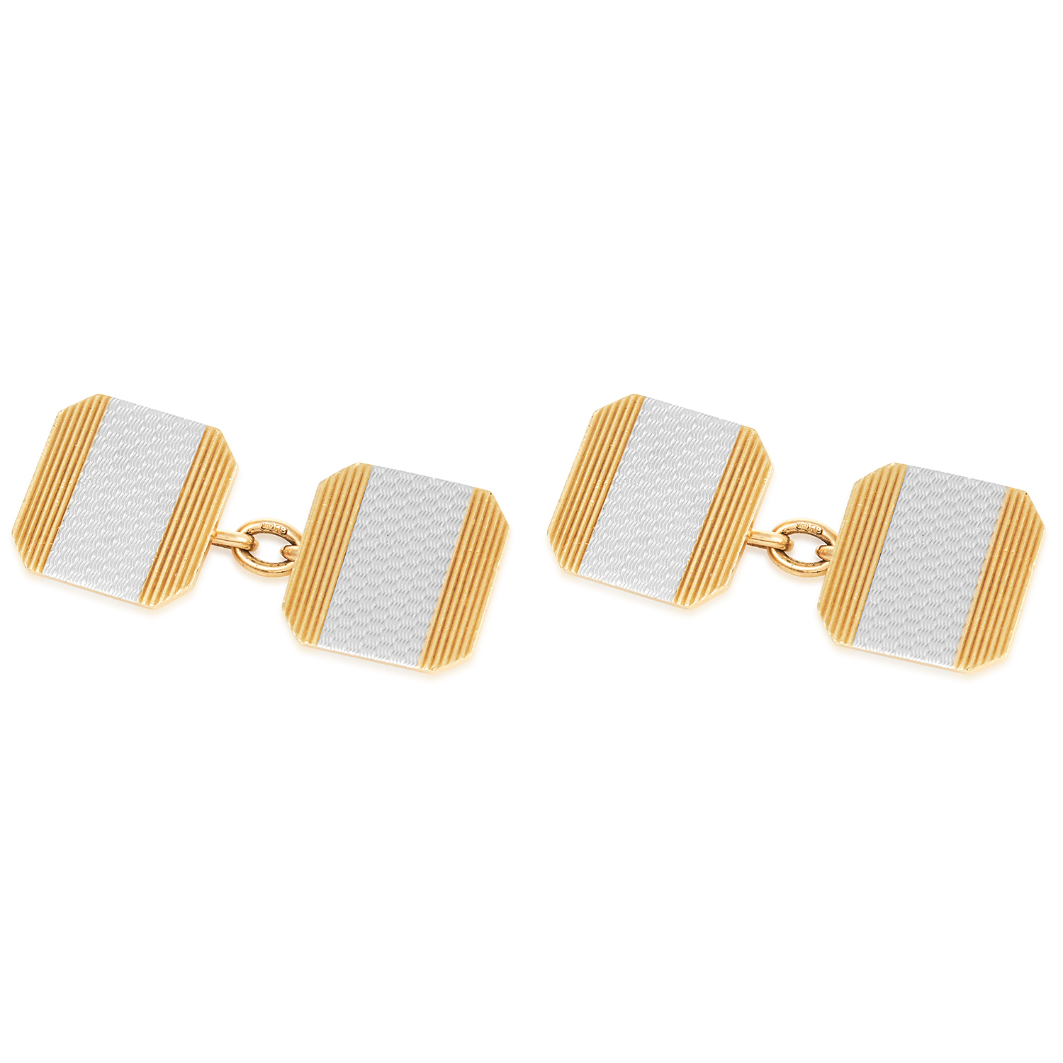 A VINTAGE CUFFLINKS in platinum and white gold, each comprising of two textured square faces in