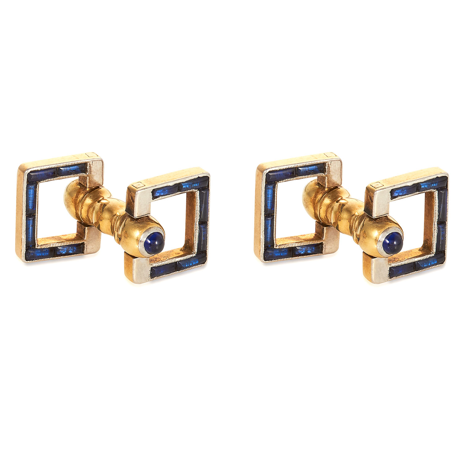 A PAIR OF ANTIQUE SAPPHIRE CUFFLINKS in yellow gold, jewelled with cabochon sapphires in square