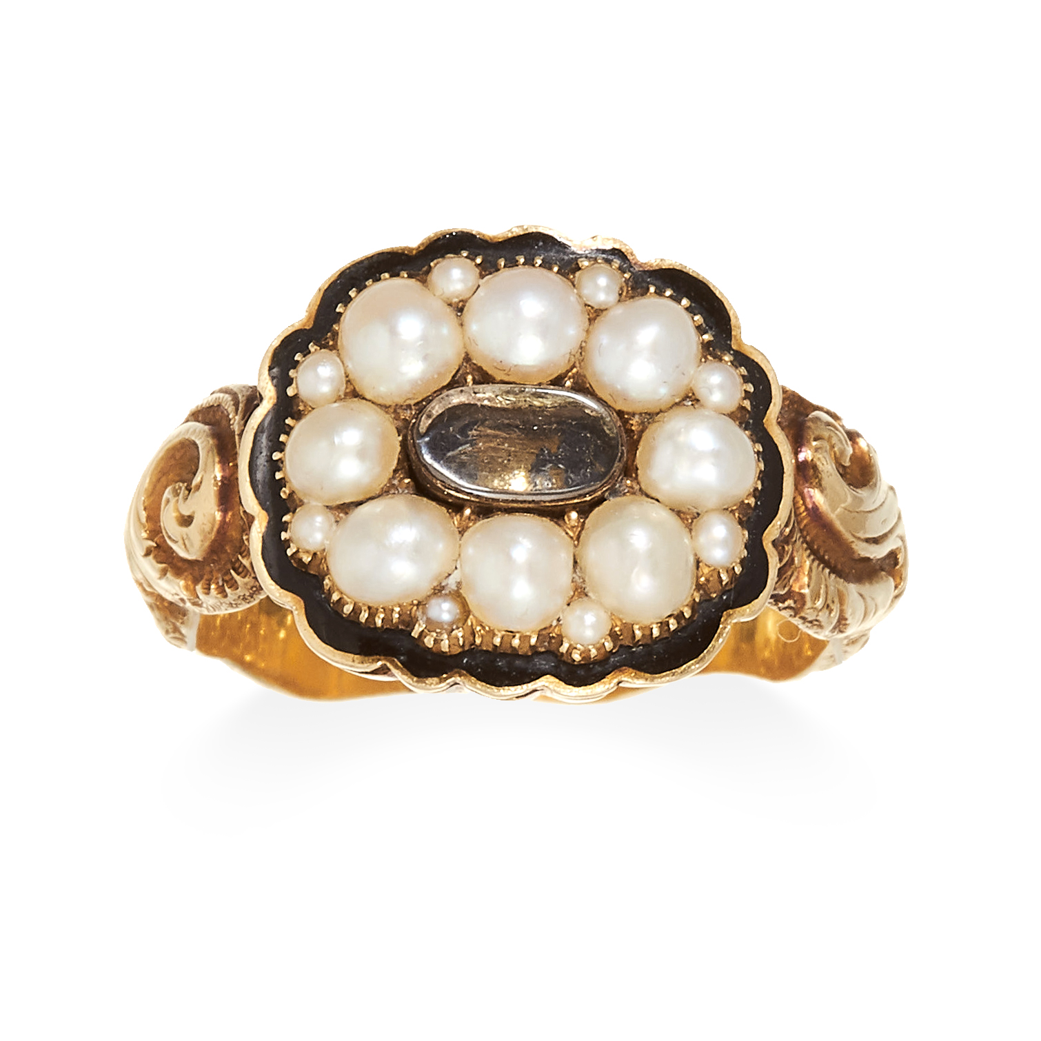 AN ANTIQUE ENAMEL AND PEARL MOURNING RING in 18ct carat yellow gold, the central woven hairwork