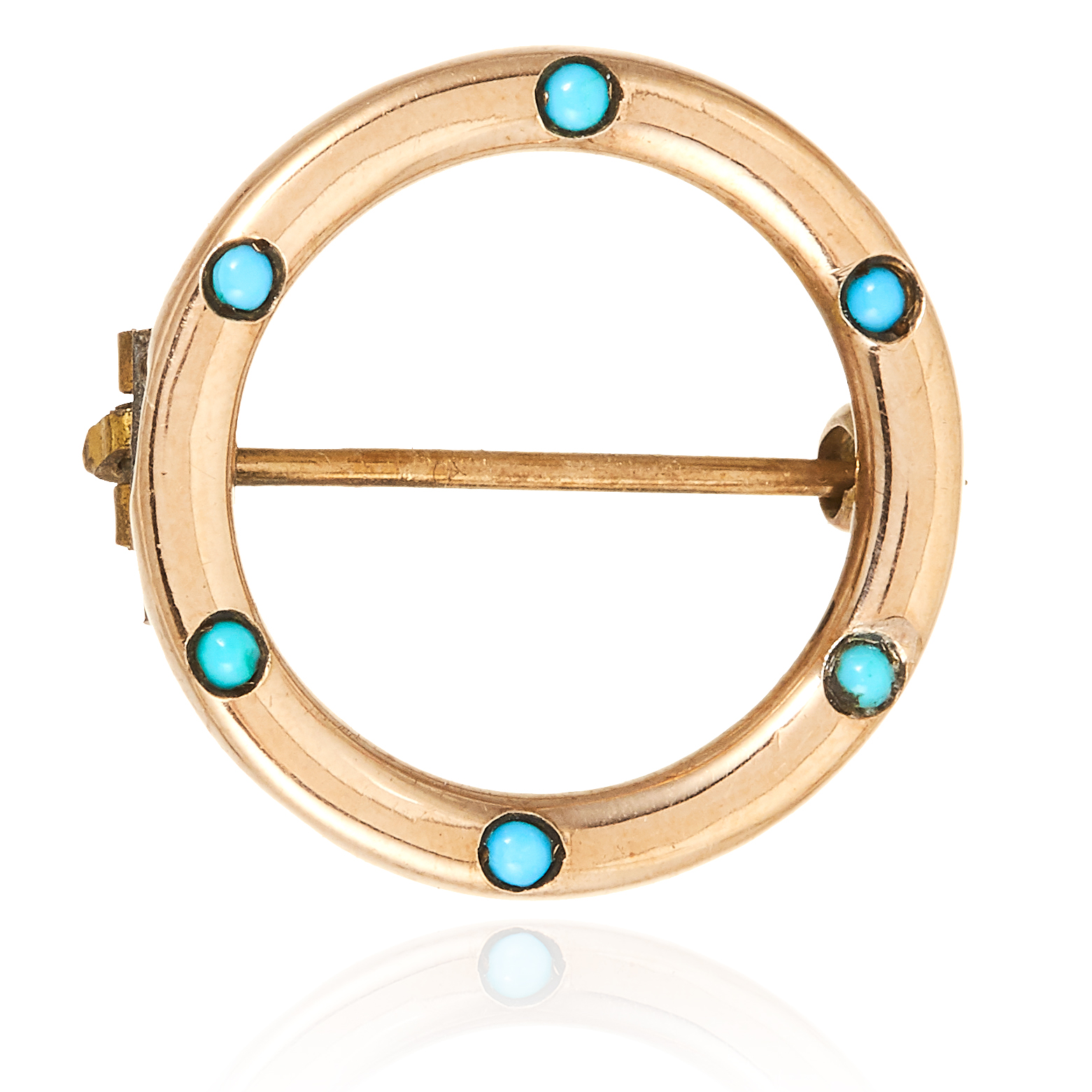 A TURQUOISE BROOCH / PENDANT in 9ct yellow gold, the circular face is jewelled with six turquoise