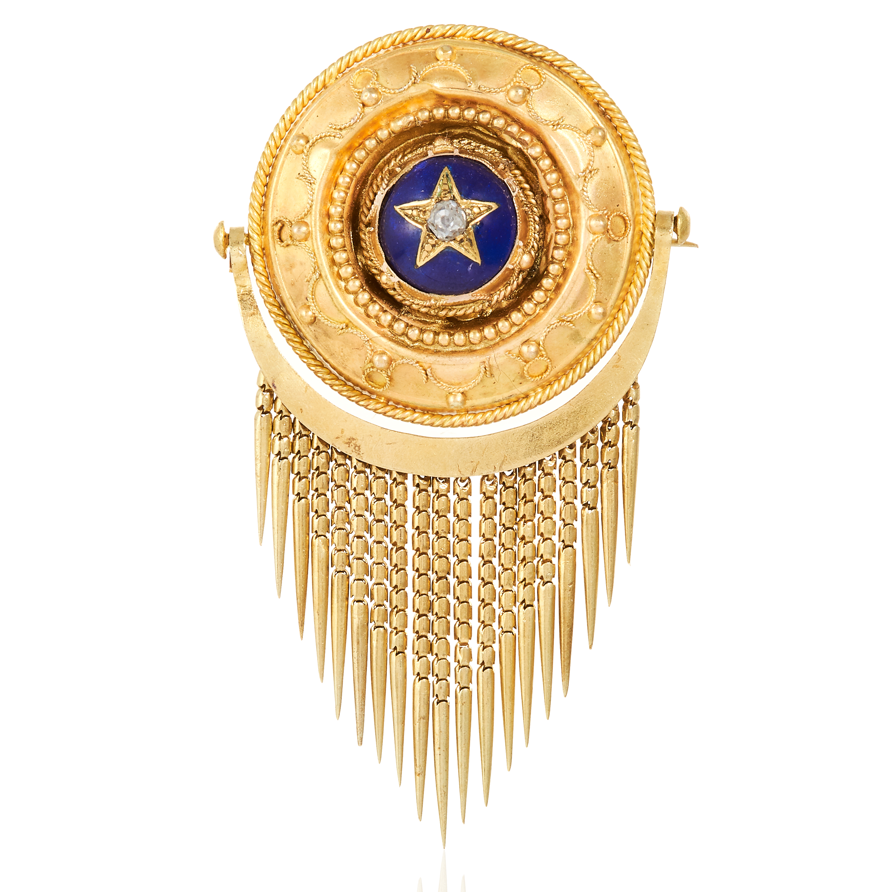 A DIAMOND AND ENAMEL MOURNING BROOCH in high carat yellow gold, the large circular body set with