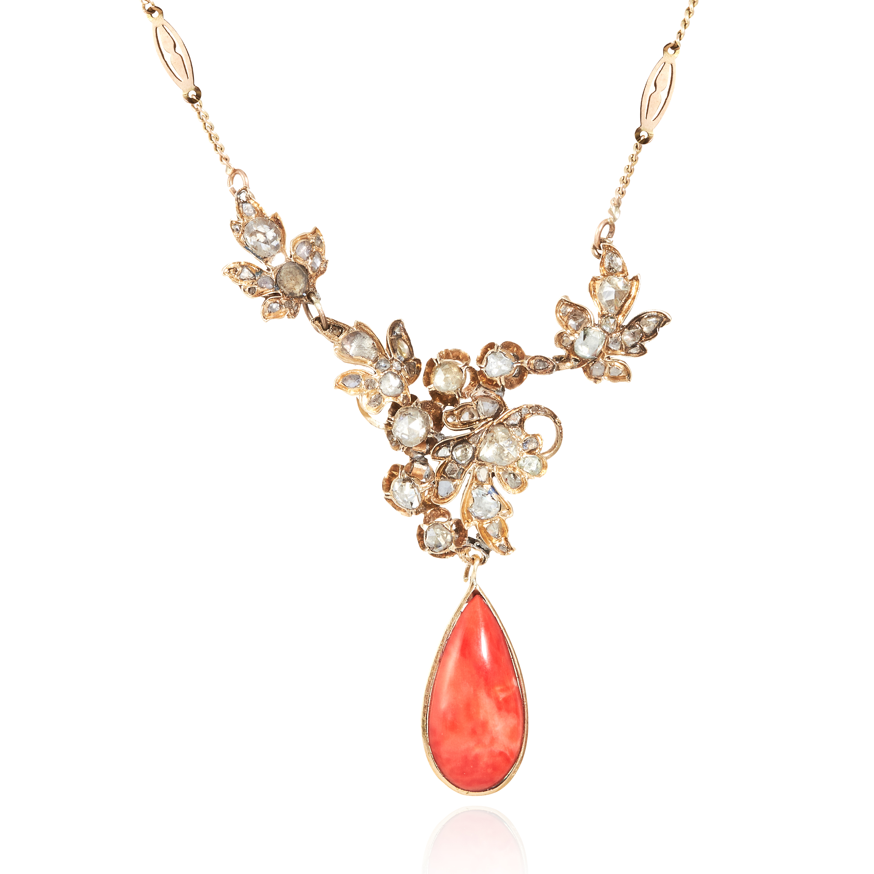 AN ANTIQUE CORAL AND DIAMOND NECKLACE, SPANISH 19TH CENTURY in yellow gold, the pear shaped coral