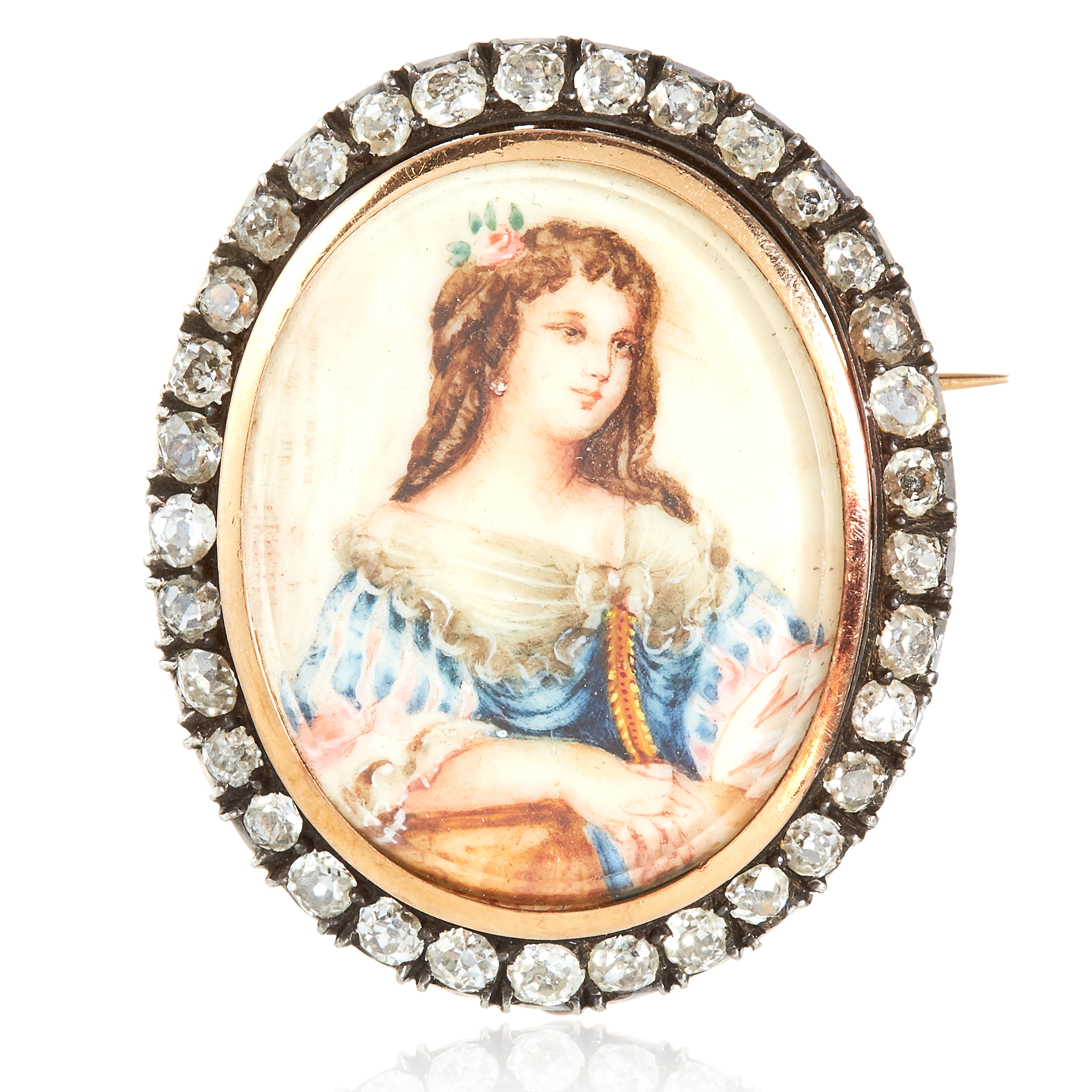 AN ANTIQUE PAINTED ENAMEL AND DIAMOND PORTRAIT BROOCH, 19TH CENTURY in high carat yellow gold, set
