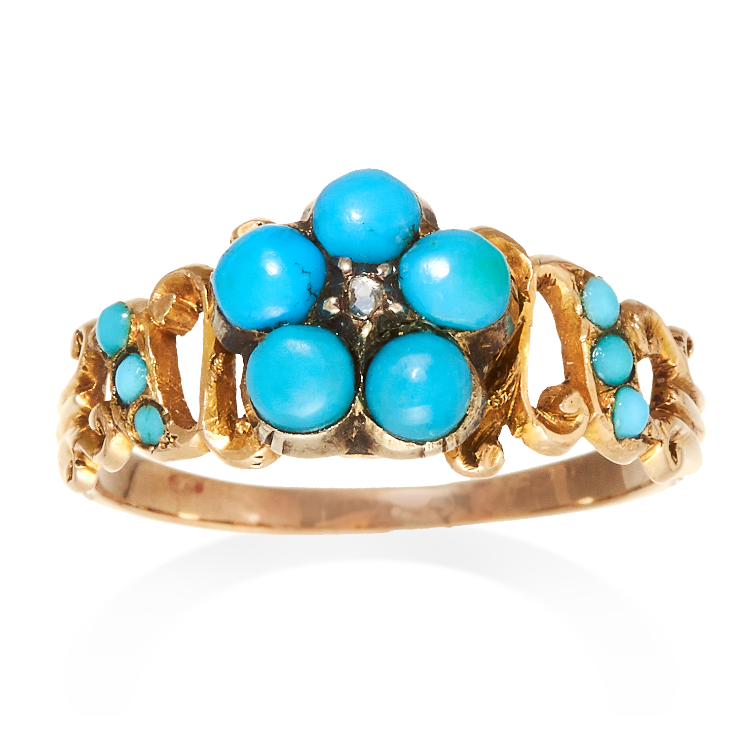 AN ANTIQUE TURQUOISE AND DIAMOND FORGET-ME-NOT RING, 19TH CENTURY in high carat yellow gold with