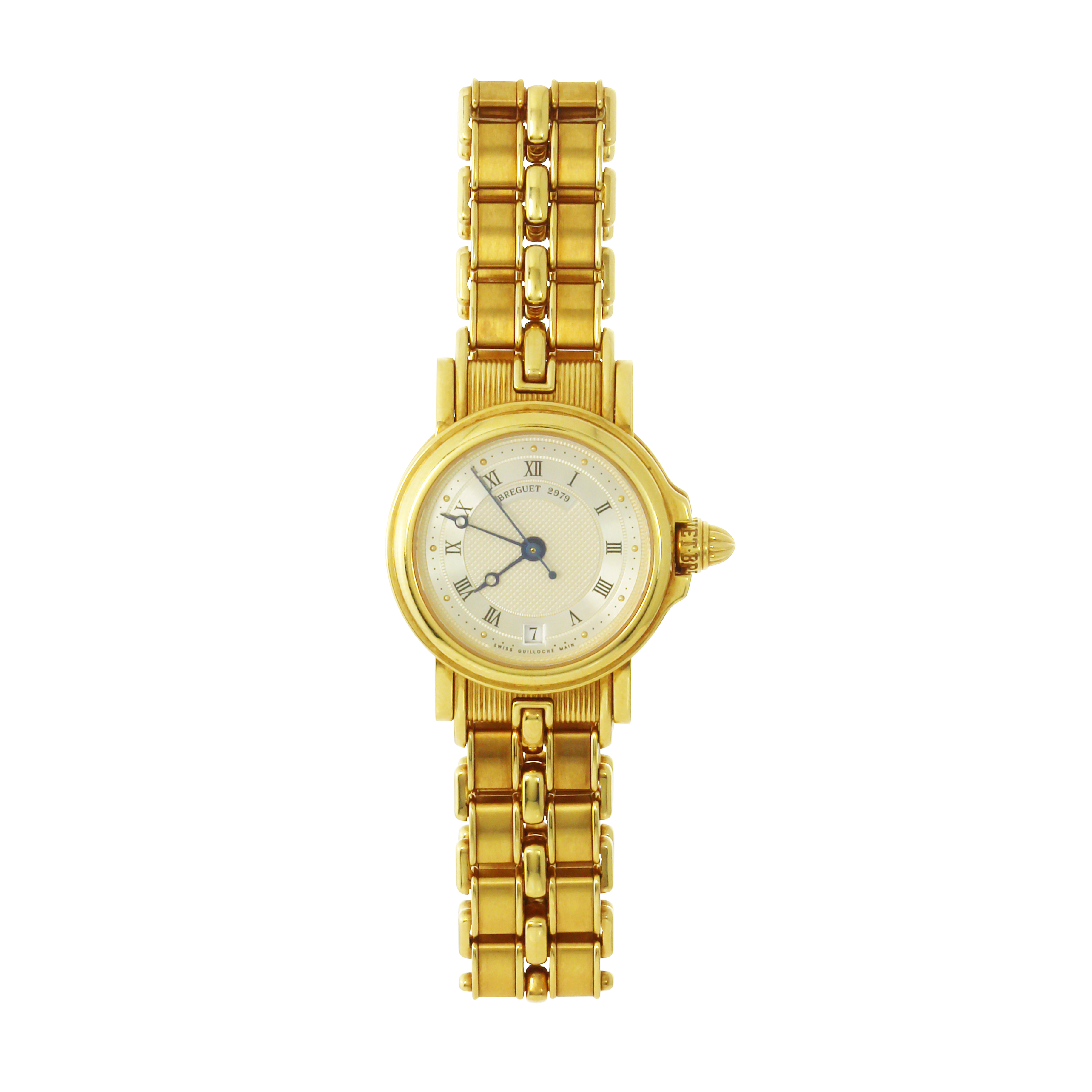 Los 151 - A MARINE 3400 LADIES GOLD WRISTWATCH BREGUET in 18ct yellow gold, the 26mm circular face with
