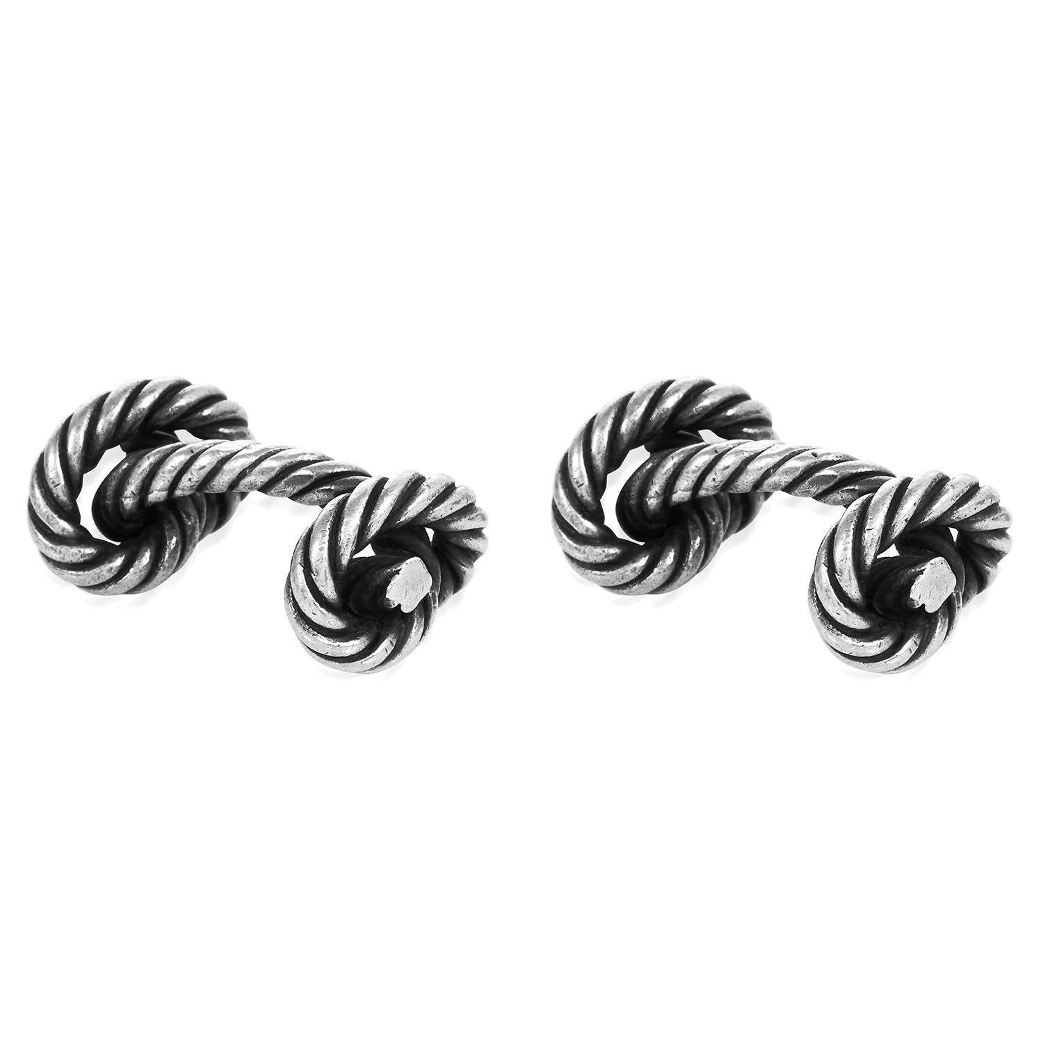 A PAIR OF KNOTTED ROPE CUFFLINKS, HERMES in silver, designed as knotted rope, signed Hermes,