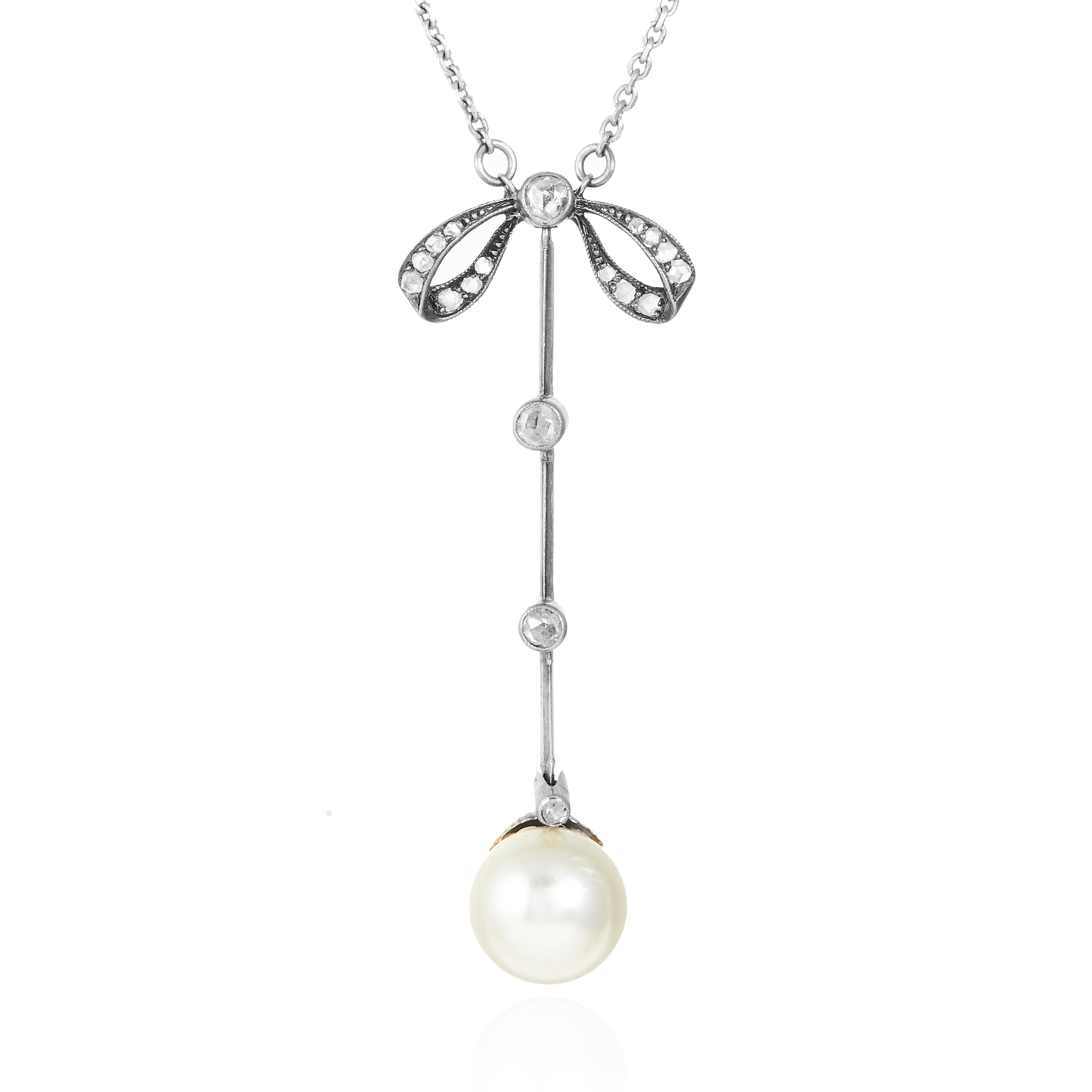 Los 25 - AN ANTIQUE PEARL AND DIAMOND NECKLACE the 9.8mm pearl suspended below a diamond jewelled ribbon