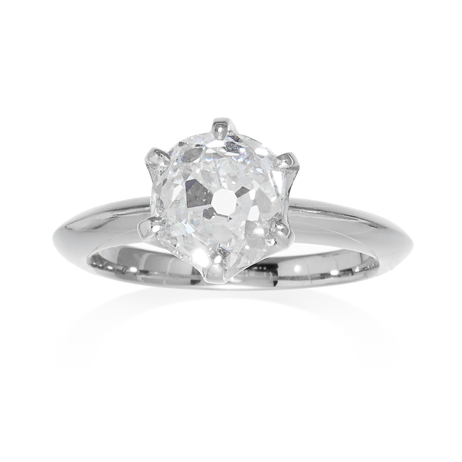 A 3.33 CARAT OLD CUT DIAMOND SOLITAIRE RING in platinum, set with an old cut diamond totalling