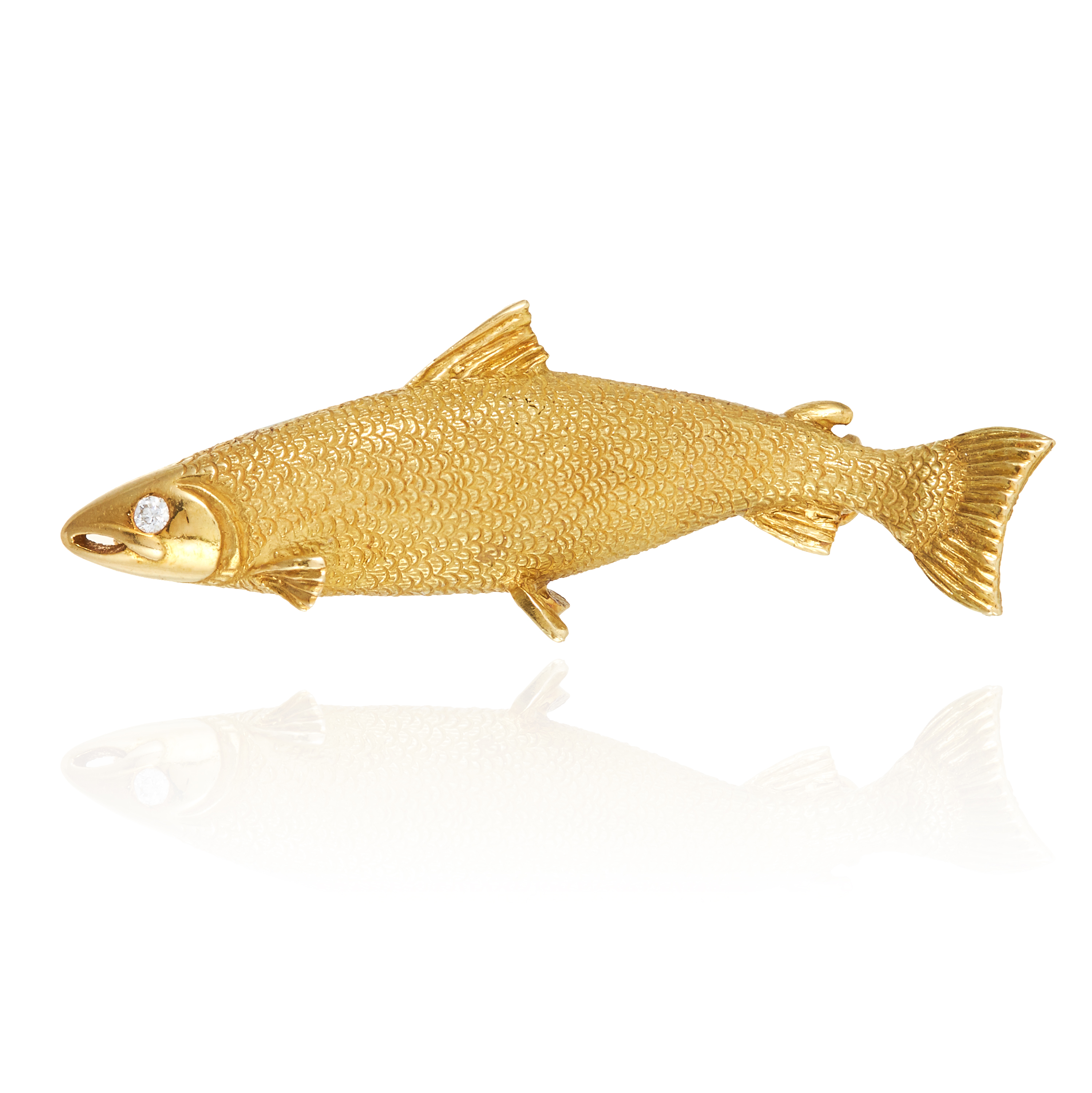 A NOVELTY DIAMOND FISH BROOCH in 18ct yellow gold, designed as a trout, jewelled with a round cut