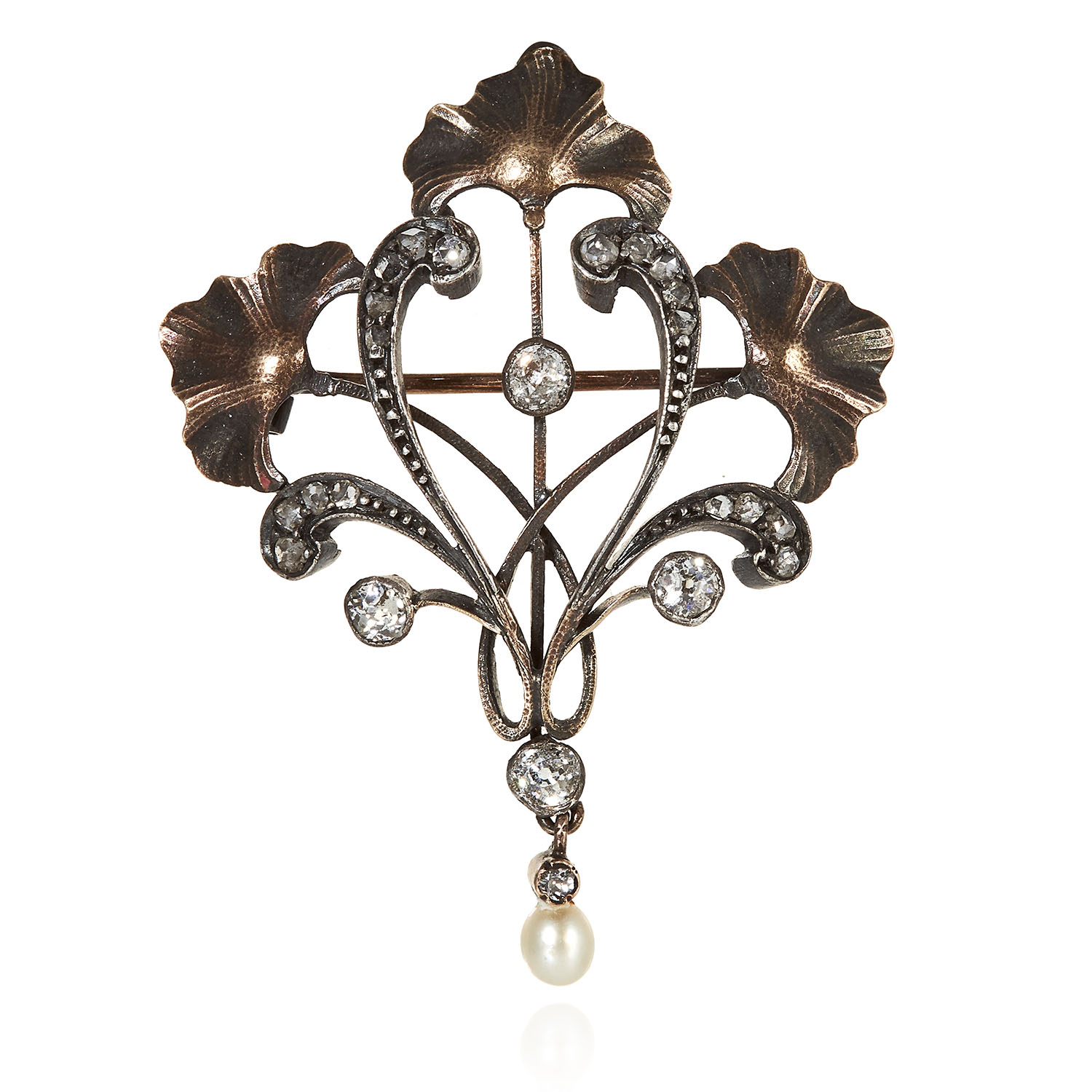 AN ART NOUVEAU DIAMOND AND PEARL BROOCH in foliate design, jewelled with four central round cut