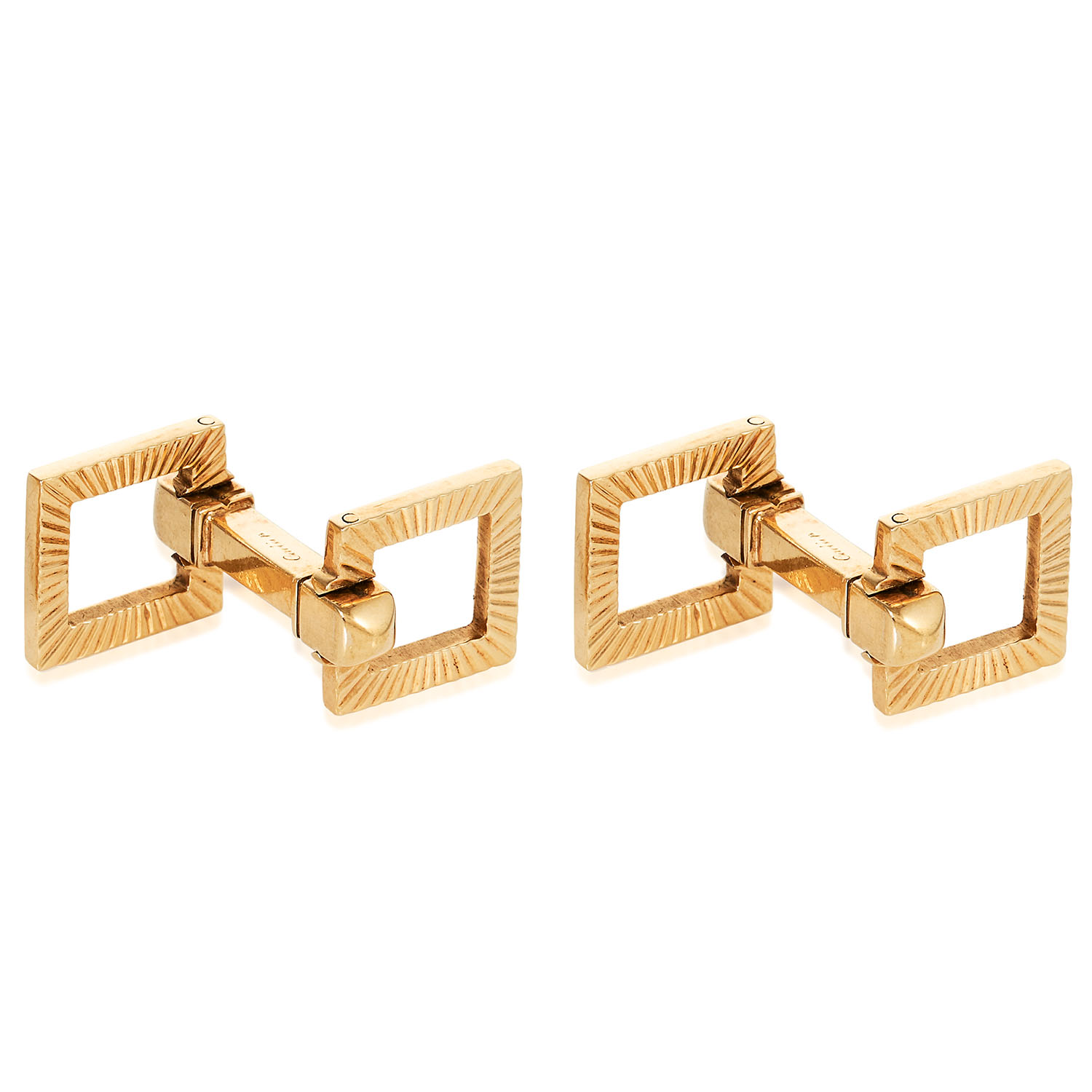 A PAIR OF VINTAGE CUFFLINKS, CARTIER in 18ct yellow gold, with textured square links connected by