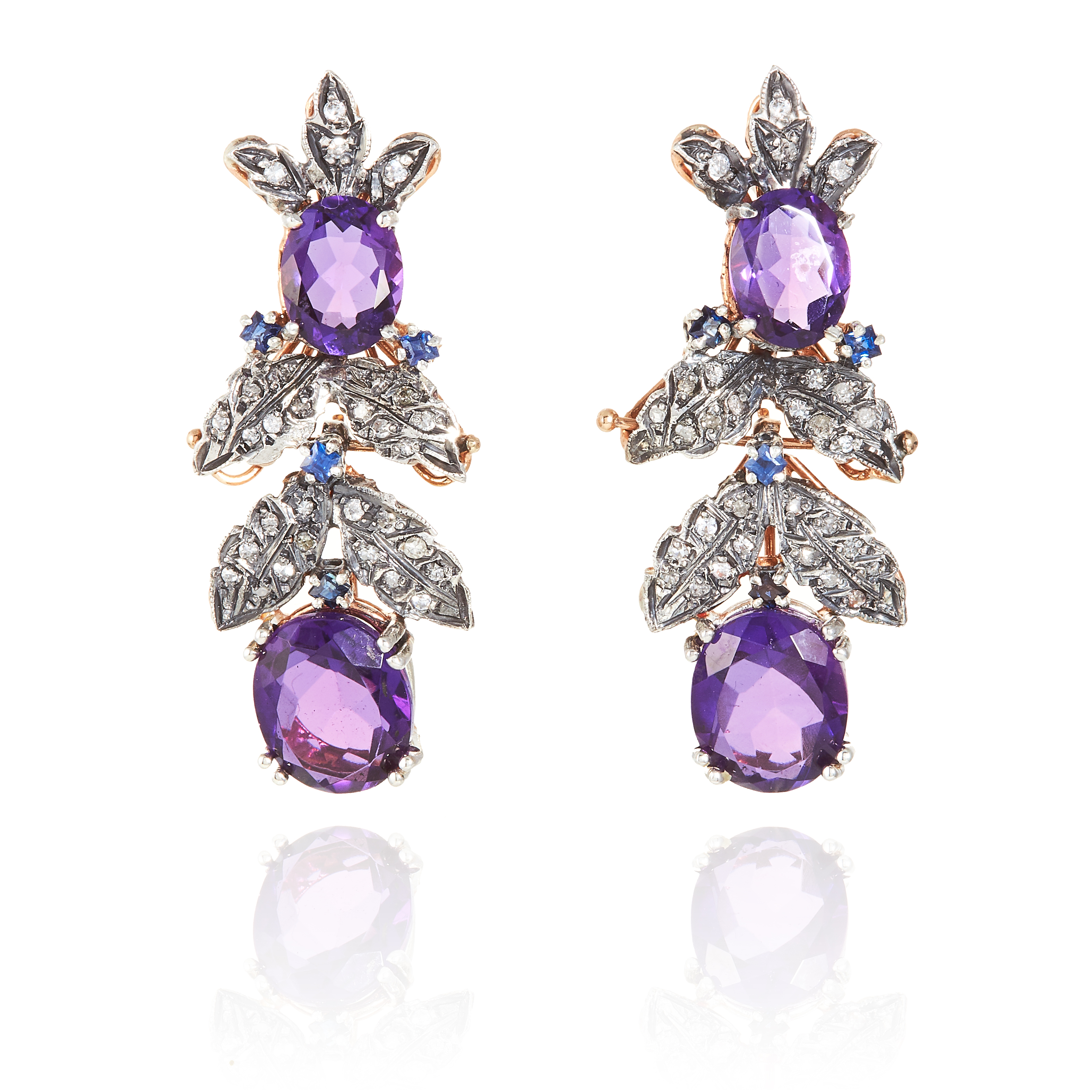 A PAIR OF ANTIQUE AMETHYST, DIAMOND AND SAPPHIRE EARRINGS in yellow gold and silver, the articulated