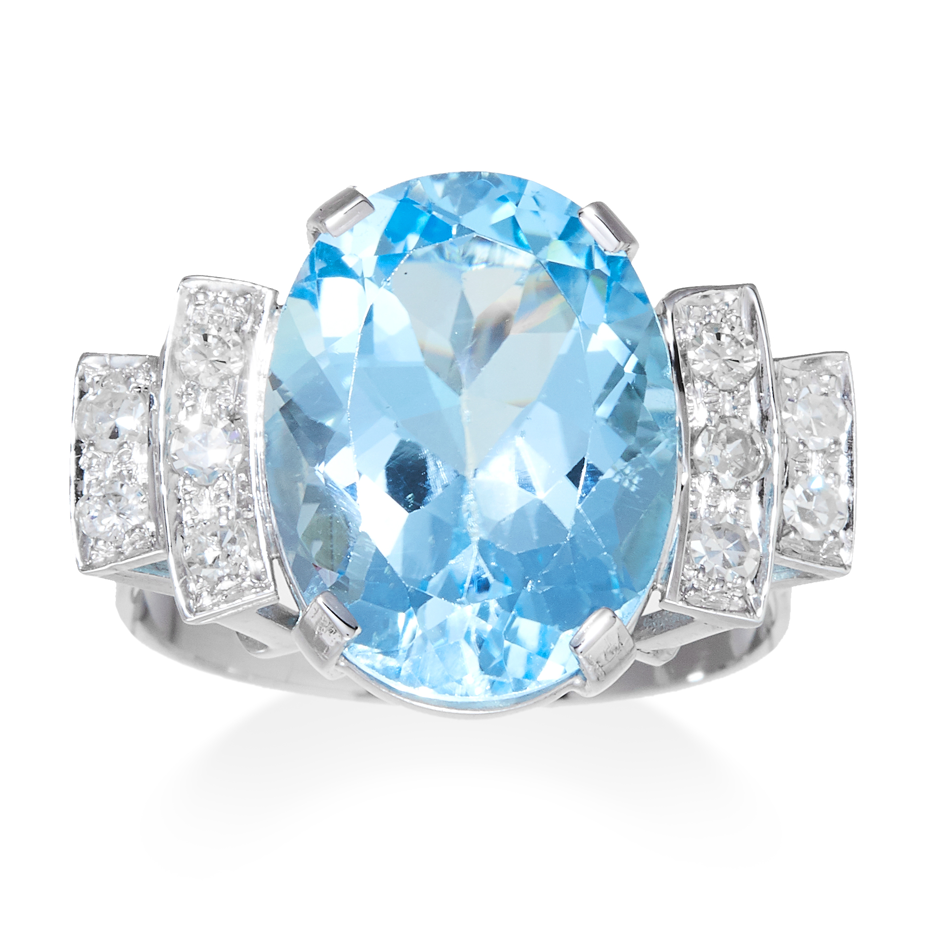AN ART DECO AQUAMARINE AND DIAMOND RING in platinum or white gold, the oval cut aquamarine of 7.35