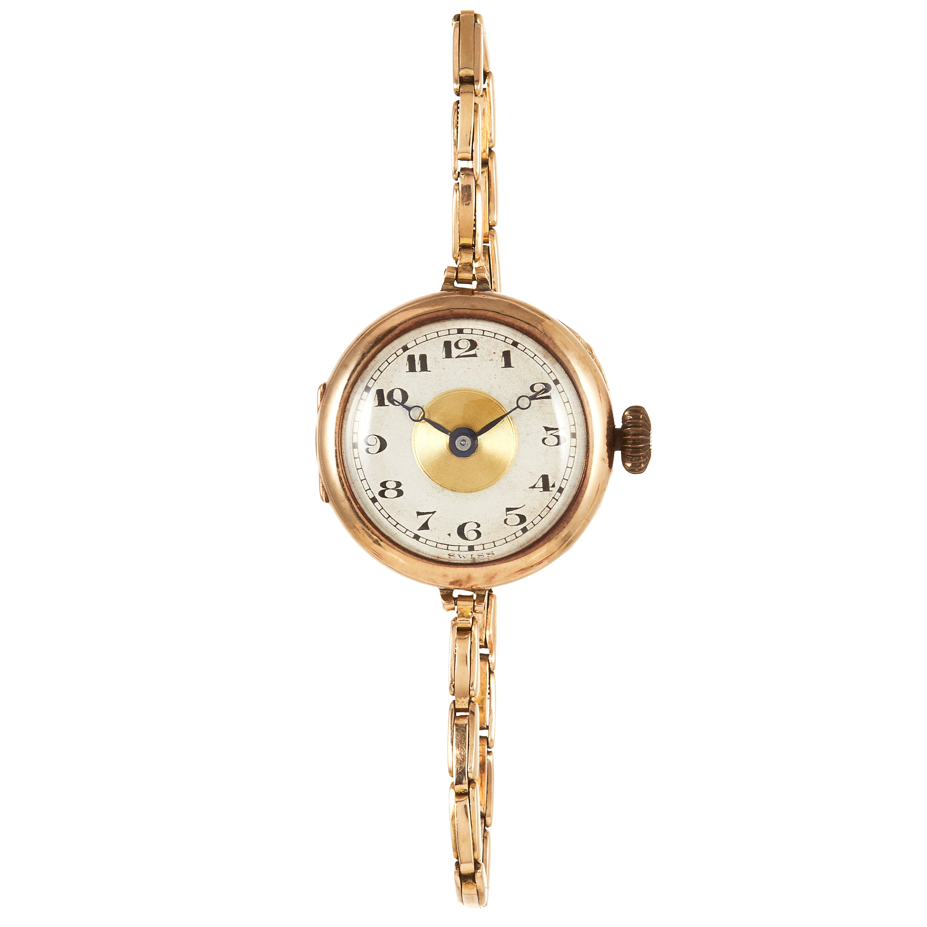 Los 310 - AN ANTIQUE GOLD LADIES WRIST WATCH in 14ct yellow gold, on thin fancy link chain, marked