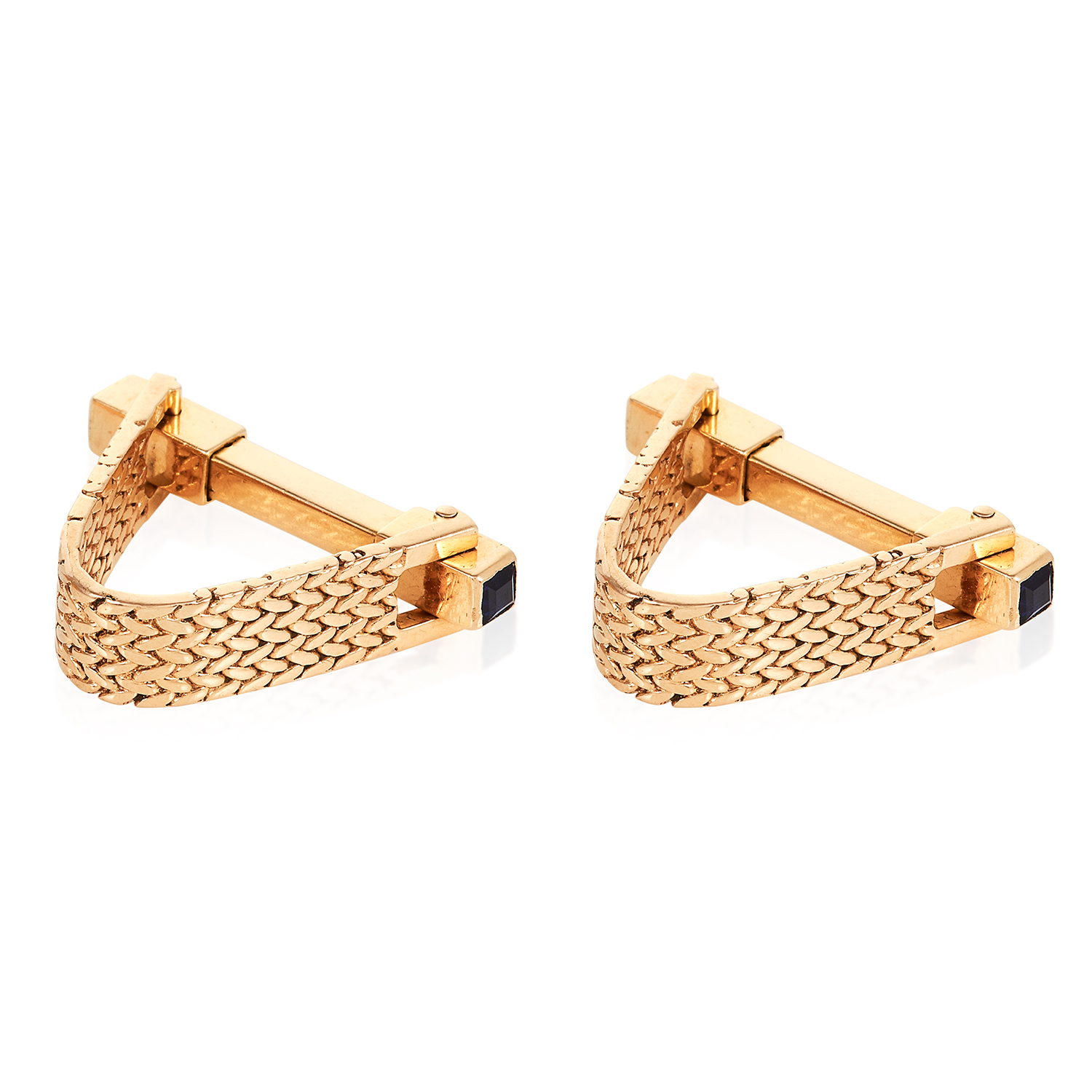 A PAIR OF SAPPHIRE STIRRUP CUFFLINKS in high carat yellow gold, designed as stirrups, jewelled