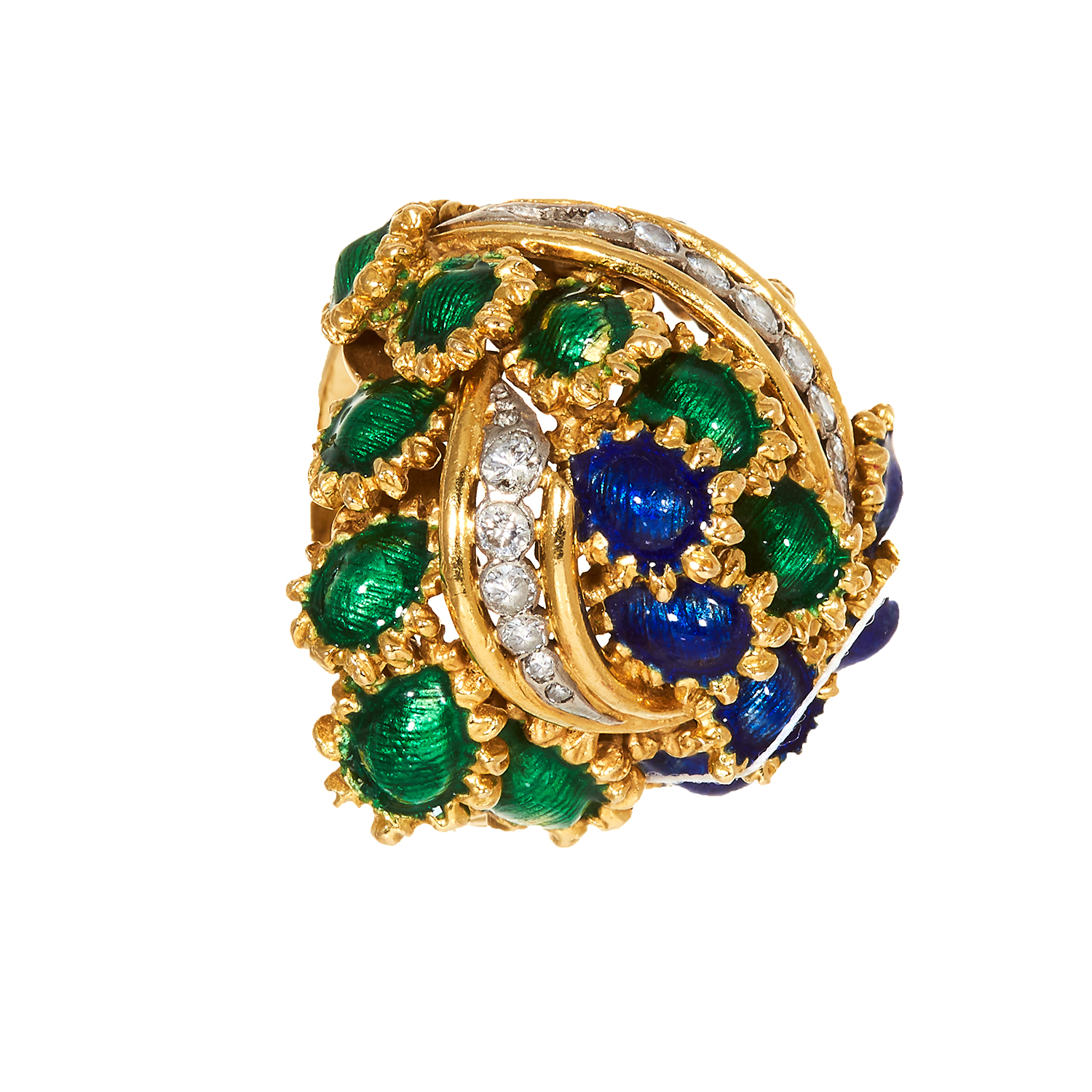 Los 60 - A DIAMOND AND ENAMEL BOMBE RING, KUTCHINSKY, CIRCA 1969 in 18ct yellow gold, jewelled with curved