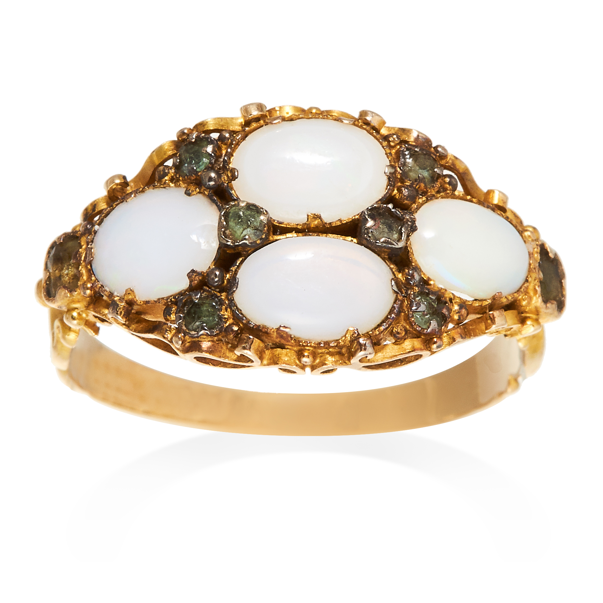 AN ANTIQUE OPAL AND GEM SET RING in high carat yellow gold, set with four oval cabochon opals,