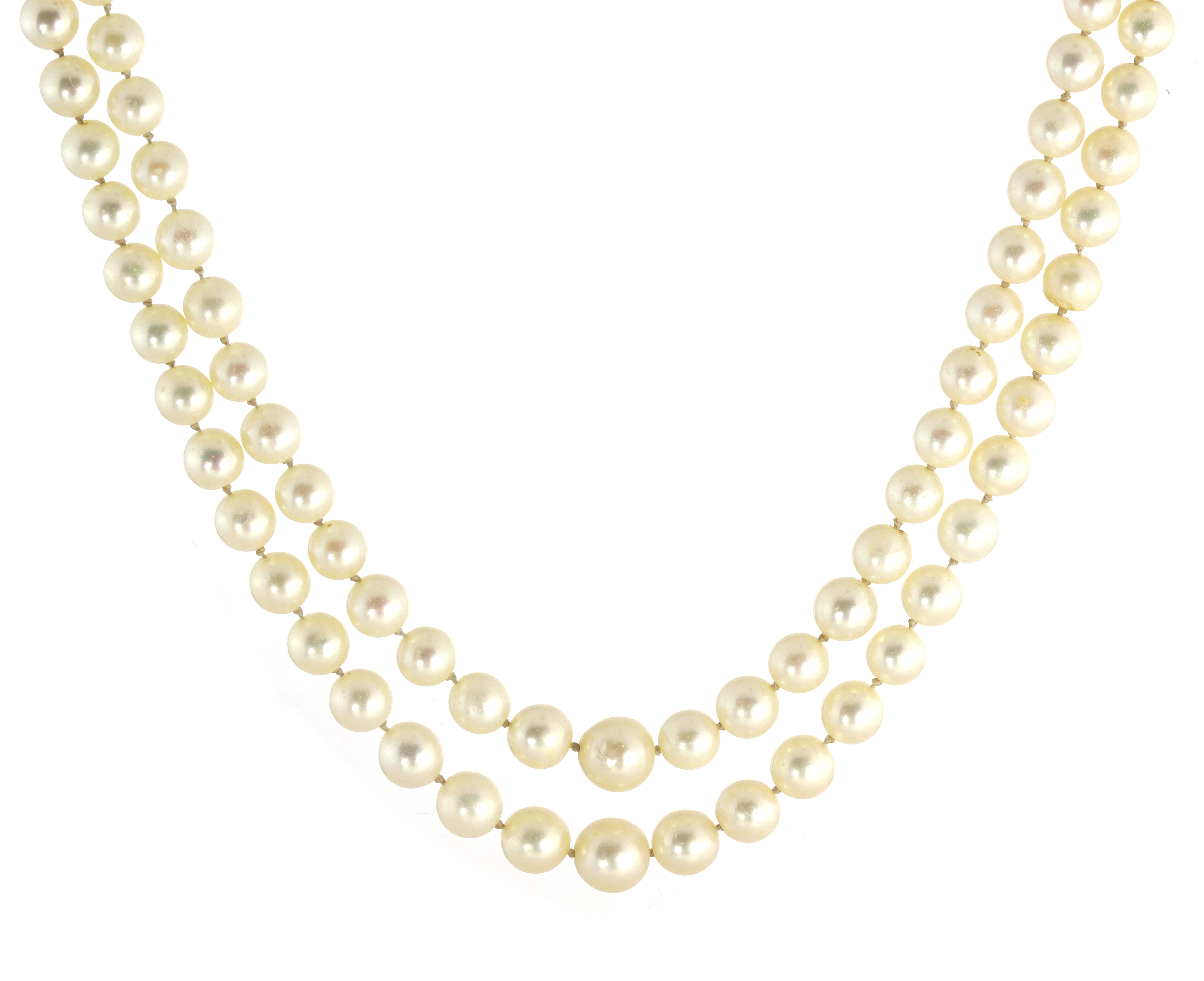 AN ANTIQUE TWO ROW PEARL, DIAMOND AND SAPPHIRE NECKLACE in white gold or platinum, comprising two