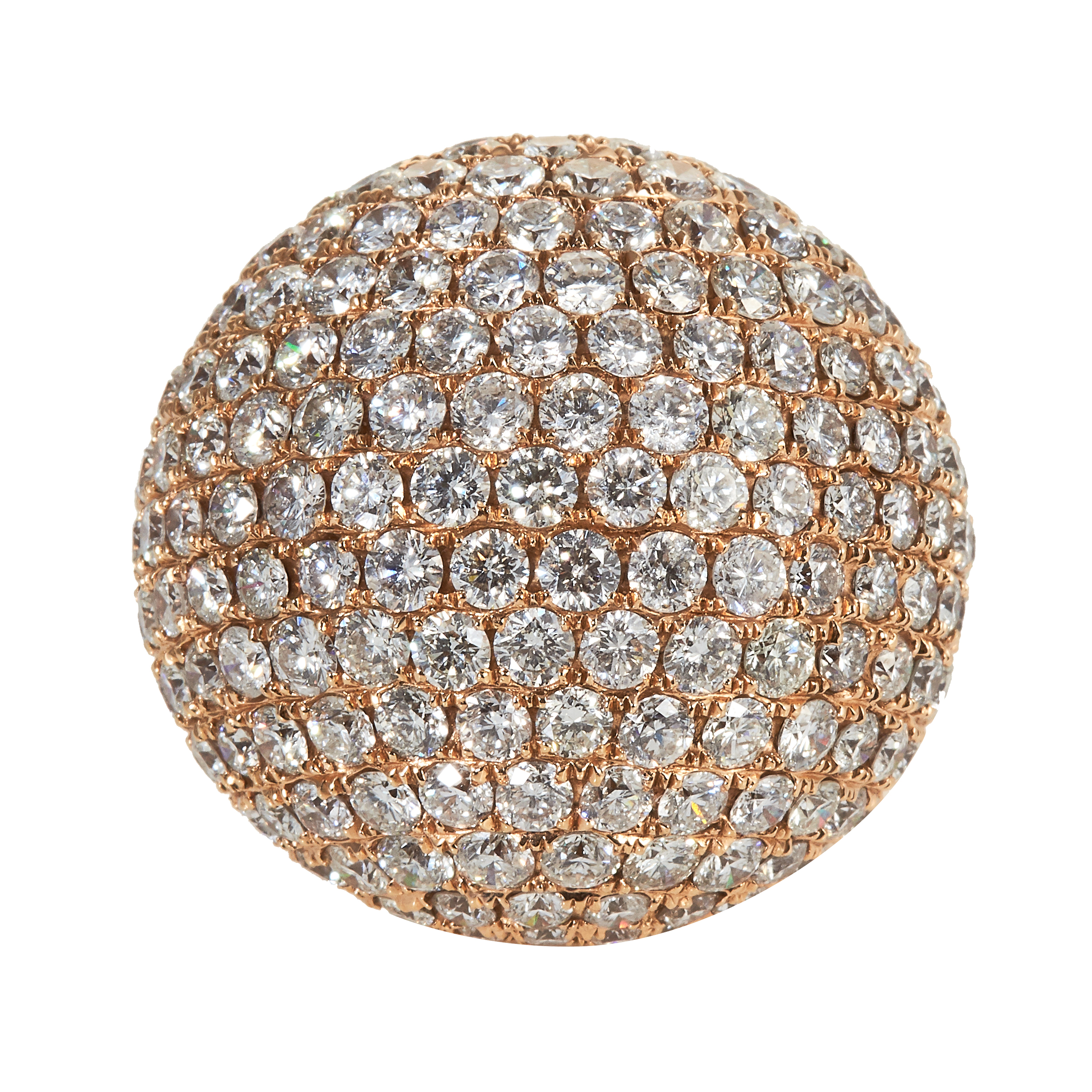 A 13.79 CARAT DIAMOND BOMBE RING in 18ct rose gold, the face jewelled with round cut diamonds
