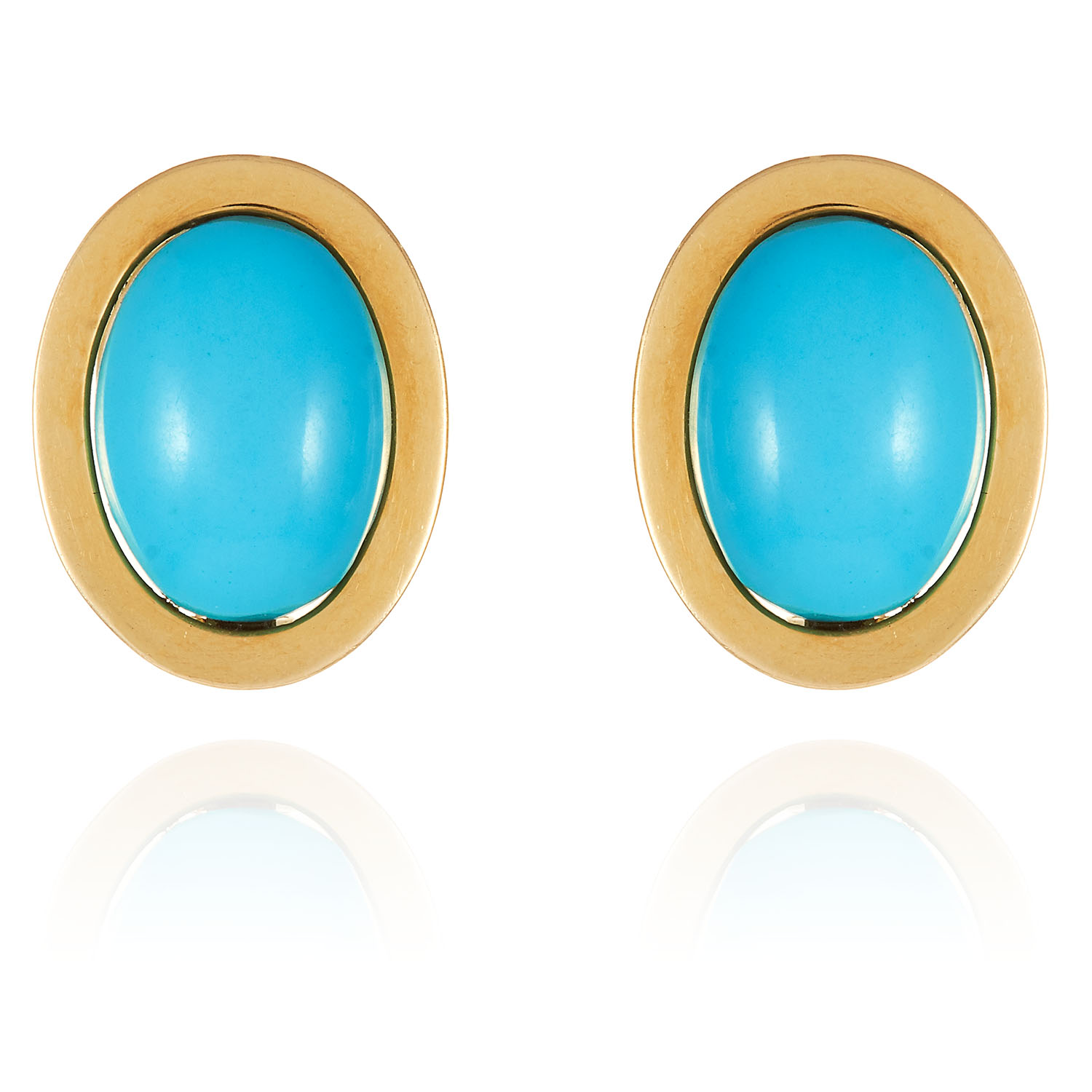 A PAIR OF TURQUOISE EAR CLIPS in 18ct yellow gold, each jewelled with a large cabochon turquoise