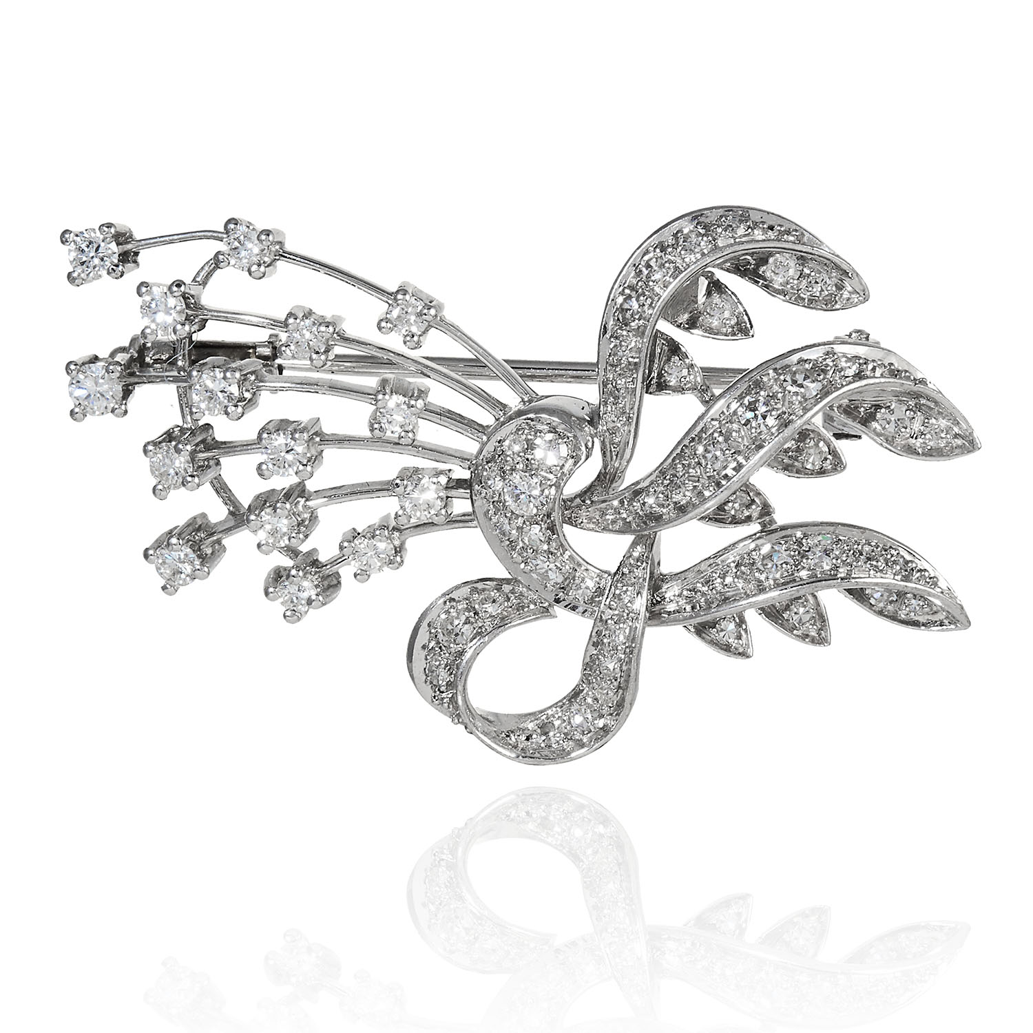 A VINTAGE DIAMOND BROOCH in 18ct white gold, in ribbon motif and bow motif, jewelled with round