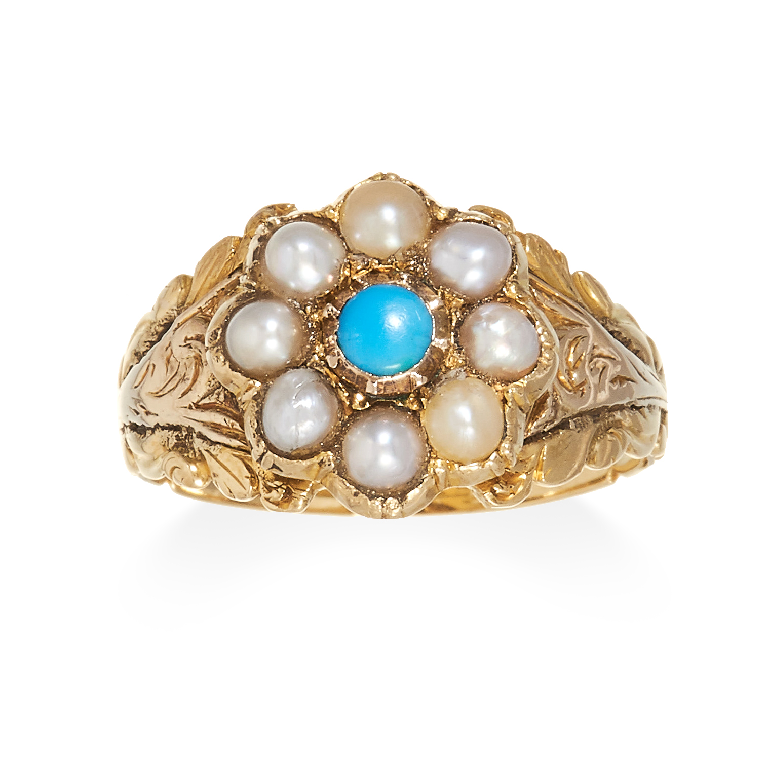 A TURQUOISE AND PEARL MOURNING RING, 19TH CENTURY in high carat yellow gold, set with a turquoise