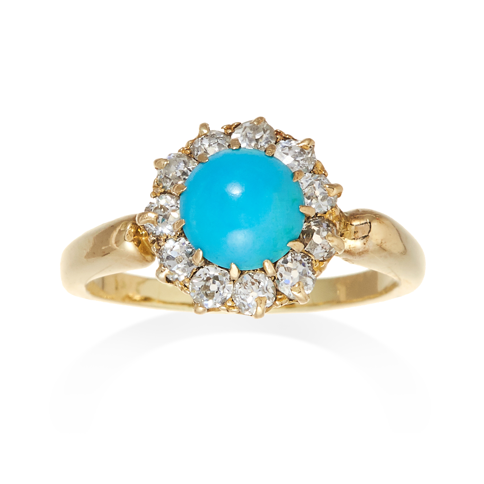 A TURQUOISE AND DIAMOND CLUSTER RING in yellow gold, set with a central cabochon turquoise and