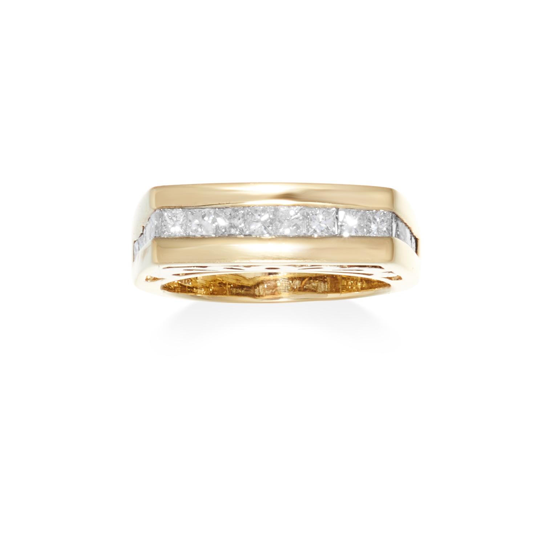 A 1.25 CARAT DIAMOND DRESS RING in 14ct yellow gold, set with eighteen princess cut diamonds