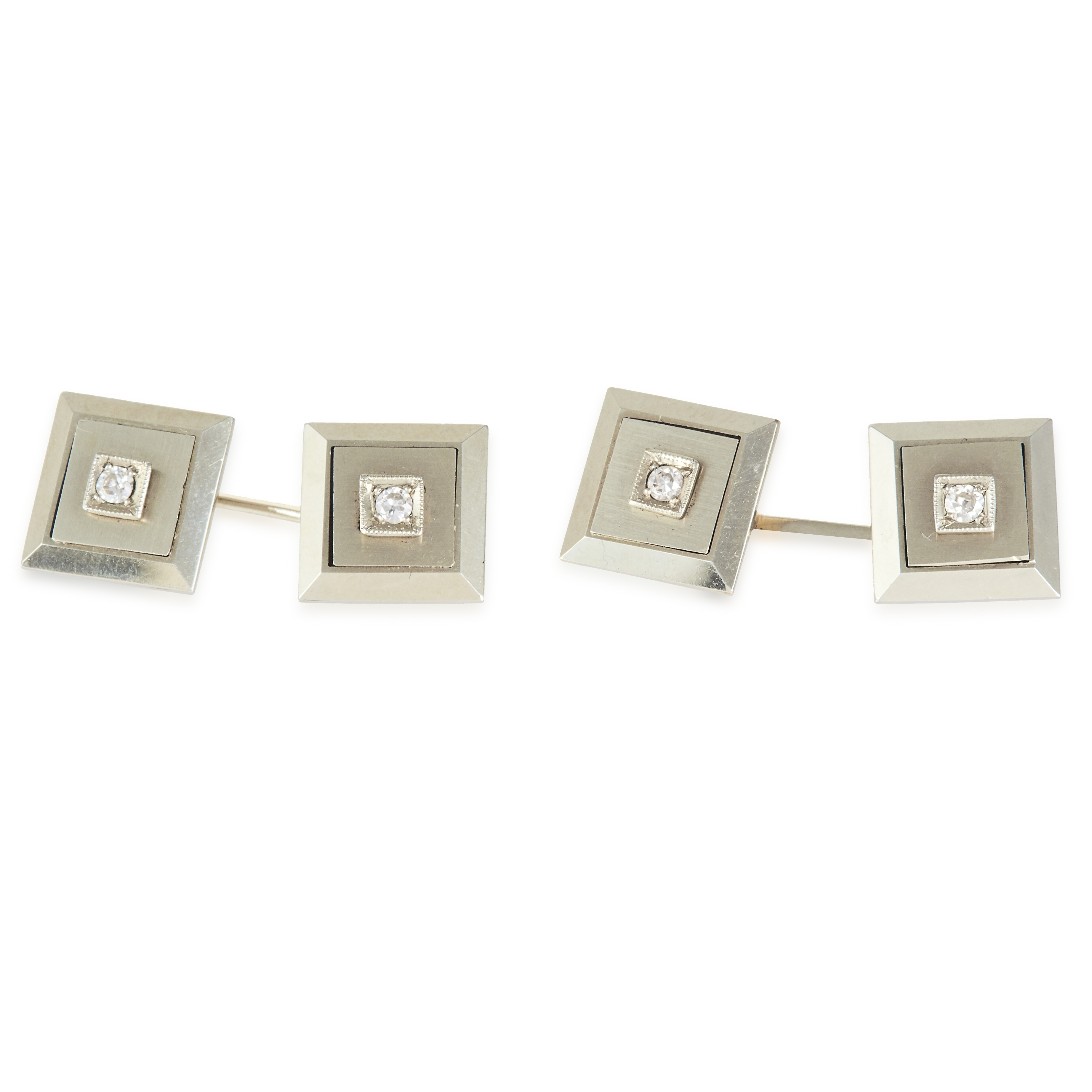 A PAIR OF VINTAGE DIAMOND CUFFLINKS in high carat yellow gold, each square face jewelled with a