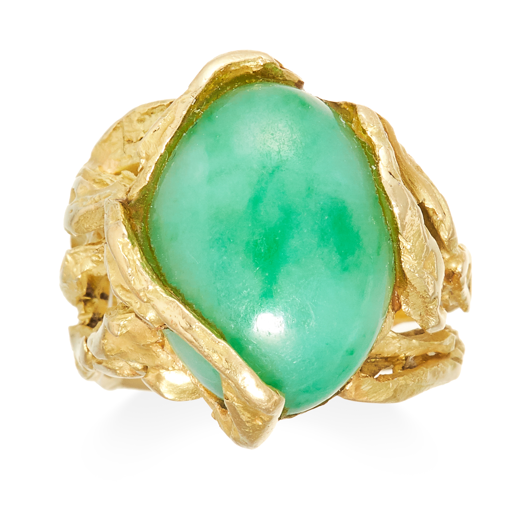 A VINTAGE JADEITE JADE DRESS RING in 18ct yellow gold, set with a polished cabochon piece of jade