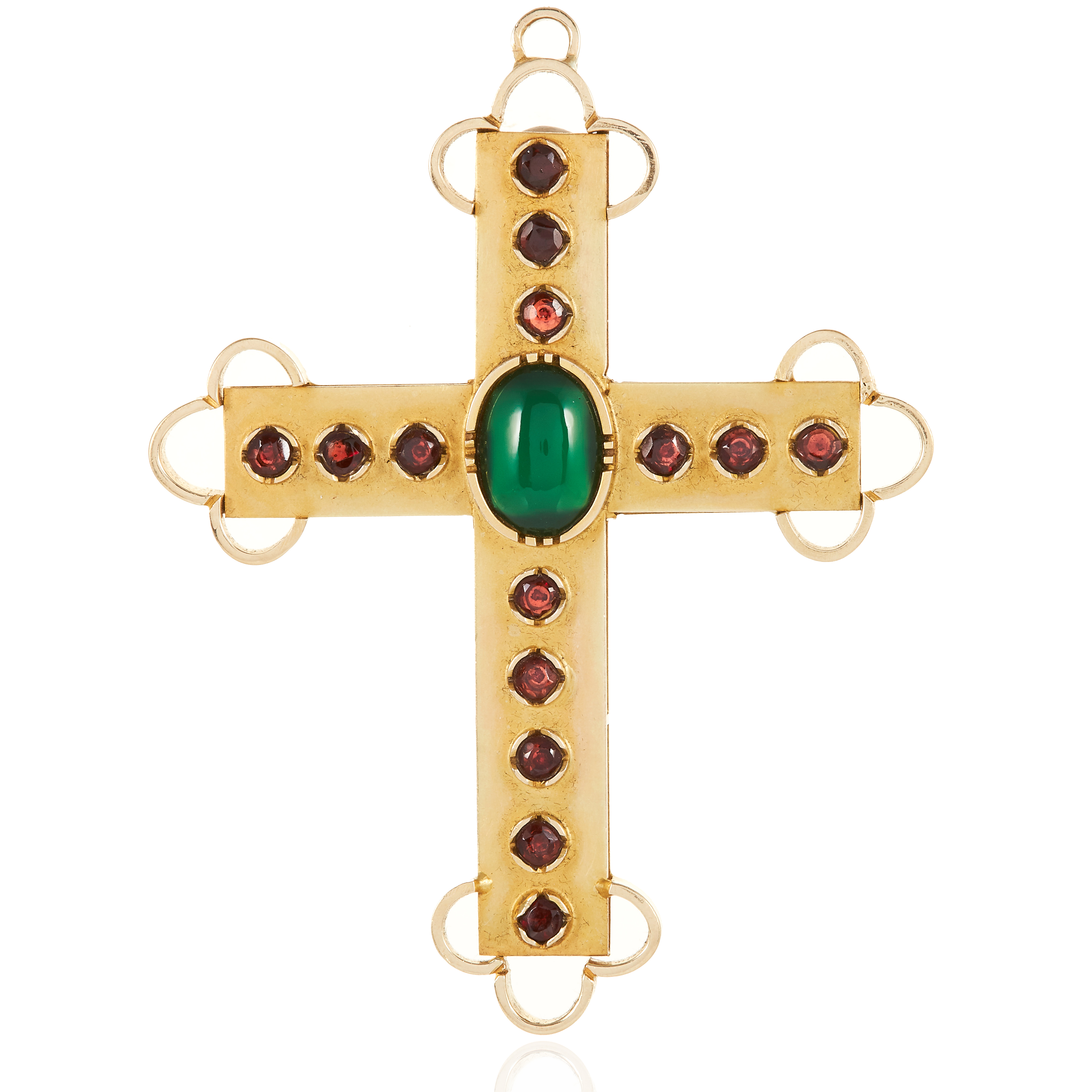 AN ANTIQUE GARNET AND CHRYSOPRASE CROSS PENDANT in yellow gold, set with an oval cabochon