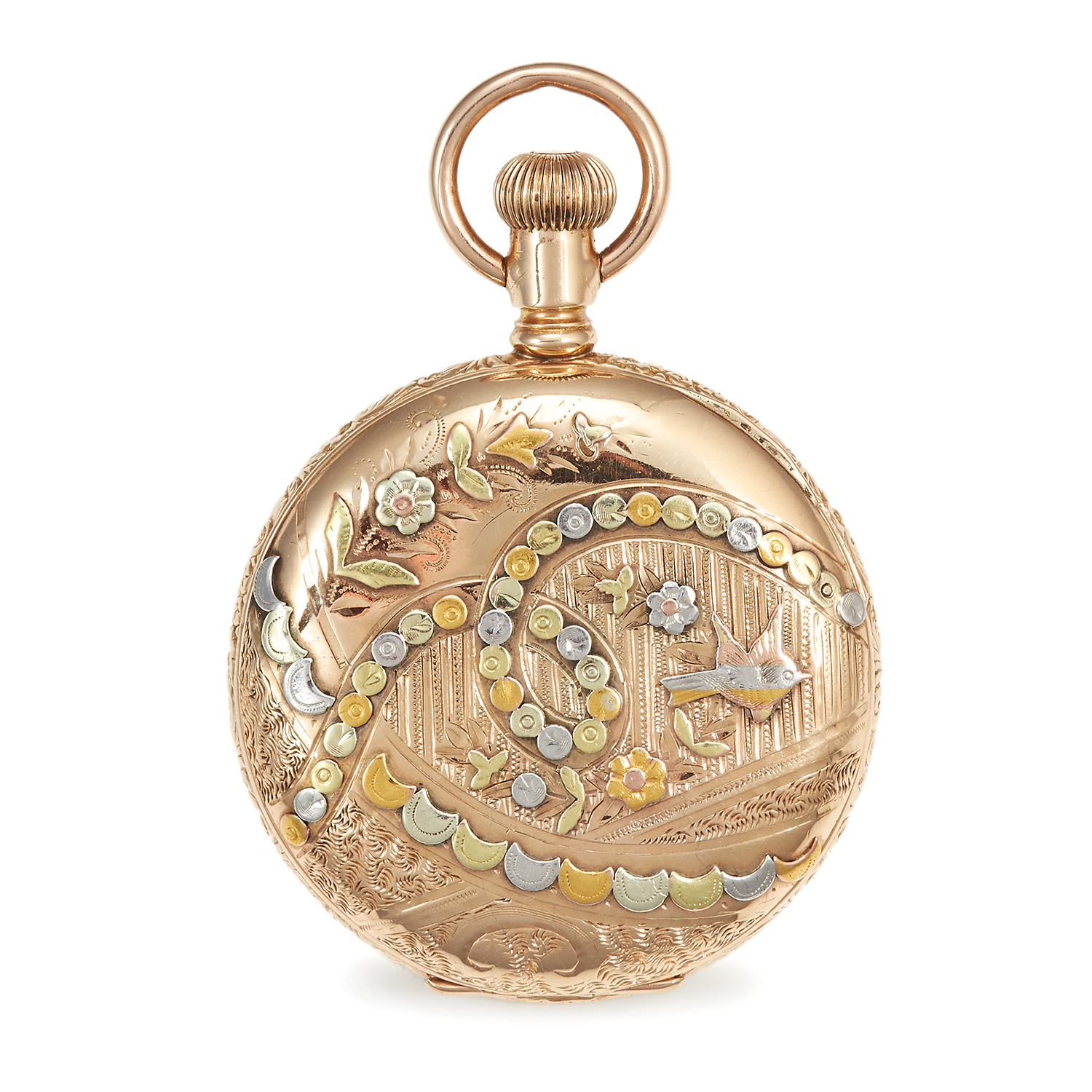 AN ANTIQUE POCKET WATCH, WALTHAM in 14ct gold, the circular case decorated with varicoloured gold