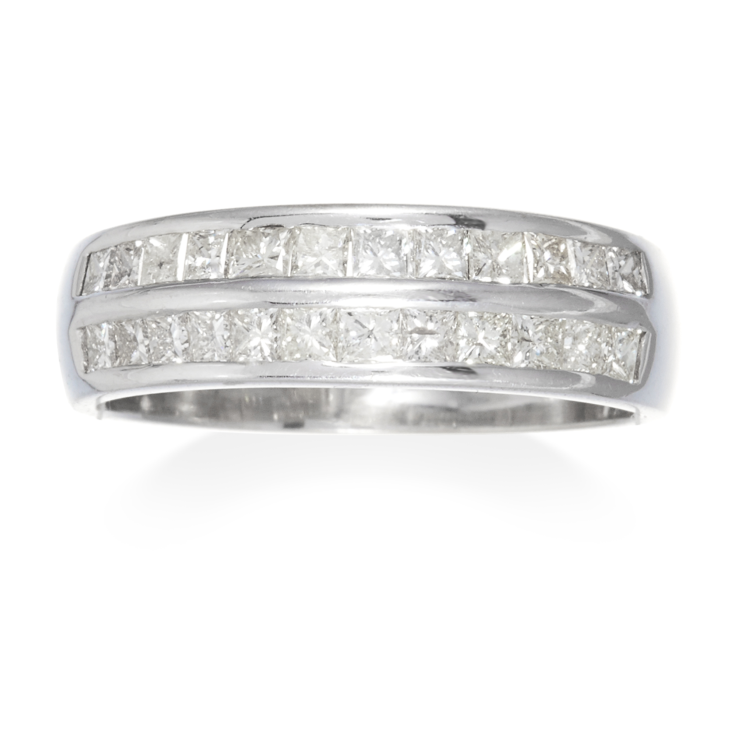 A 1.70 CARAT DIAMOND ETERNITY RING in 18ct white gold, set with two rows of princess cut diamonds