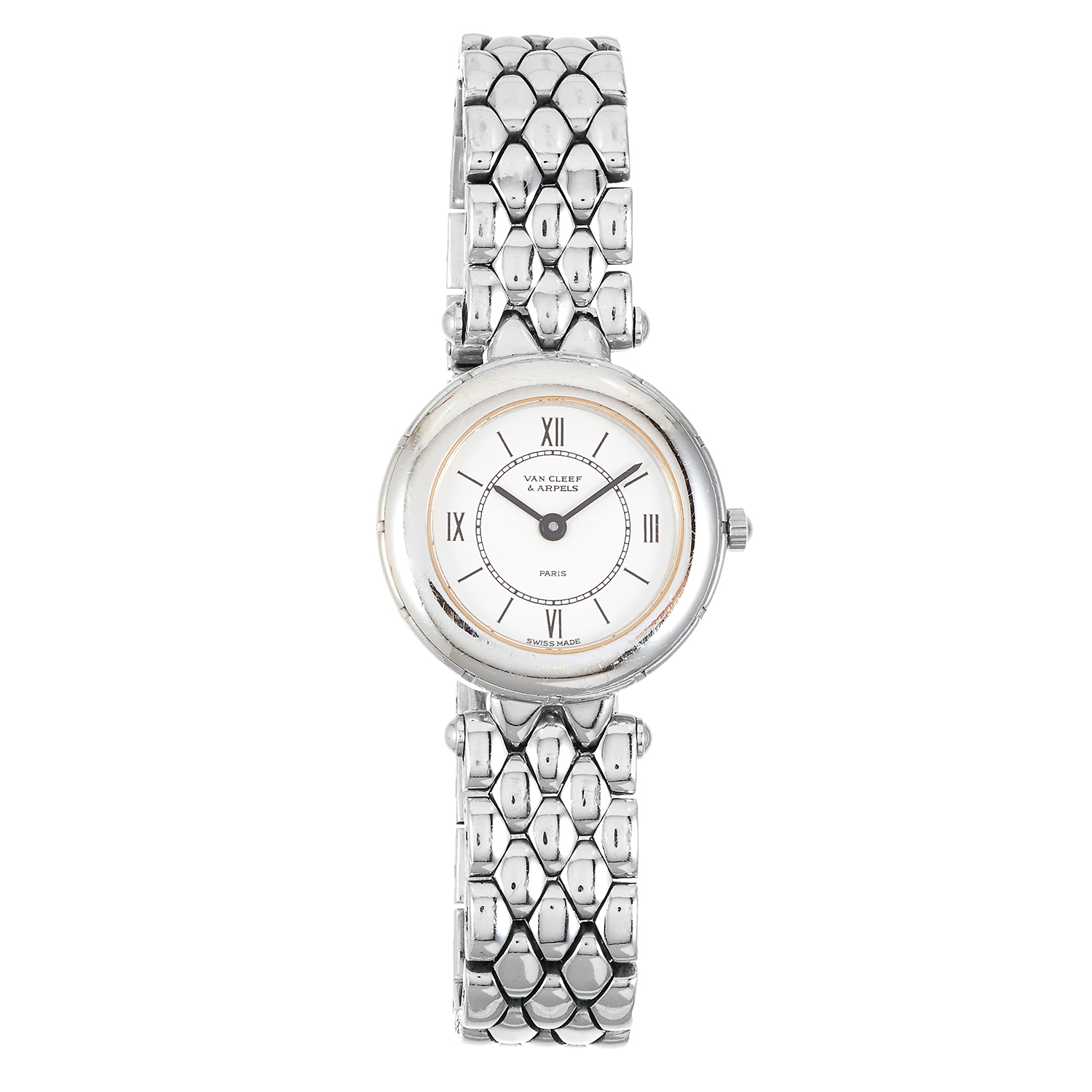 Los 153 - A LADIES WRIST WATCH, VAN CLEEF AND ARPELS in 18ct white gold, with white dial, signed Van Cleef and