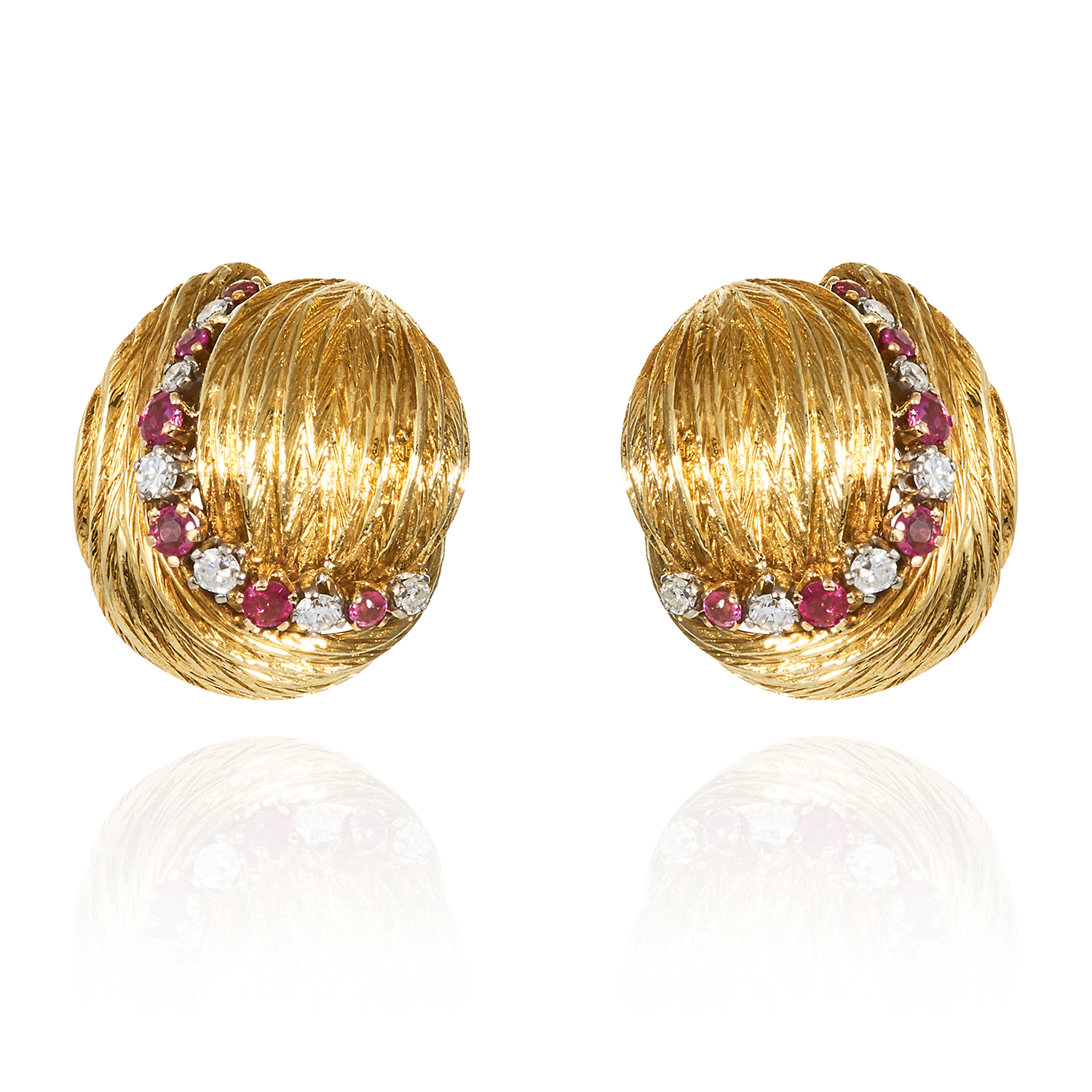 A PAIR OF VINTAGE RUBY AND DIAMOND EARRINGS in 18ct yellow gold, jewelled with alternating round cut