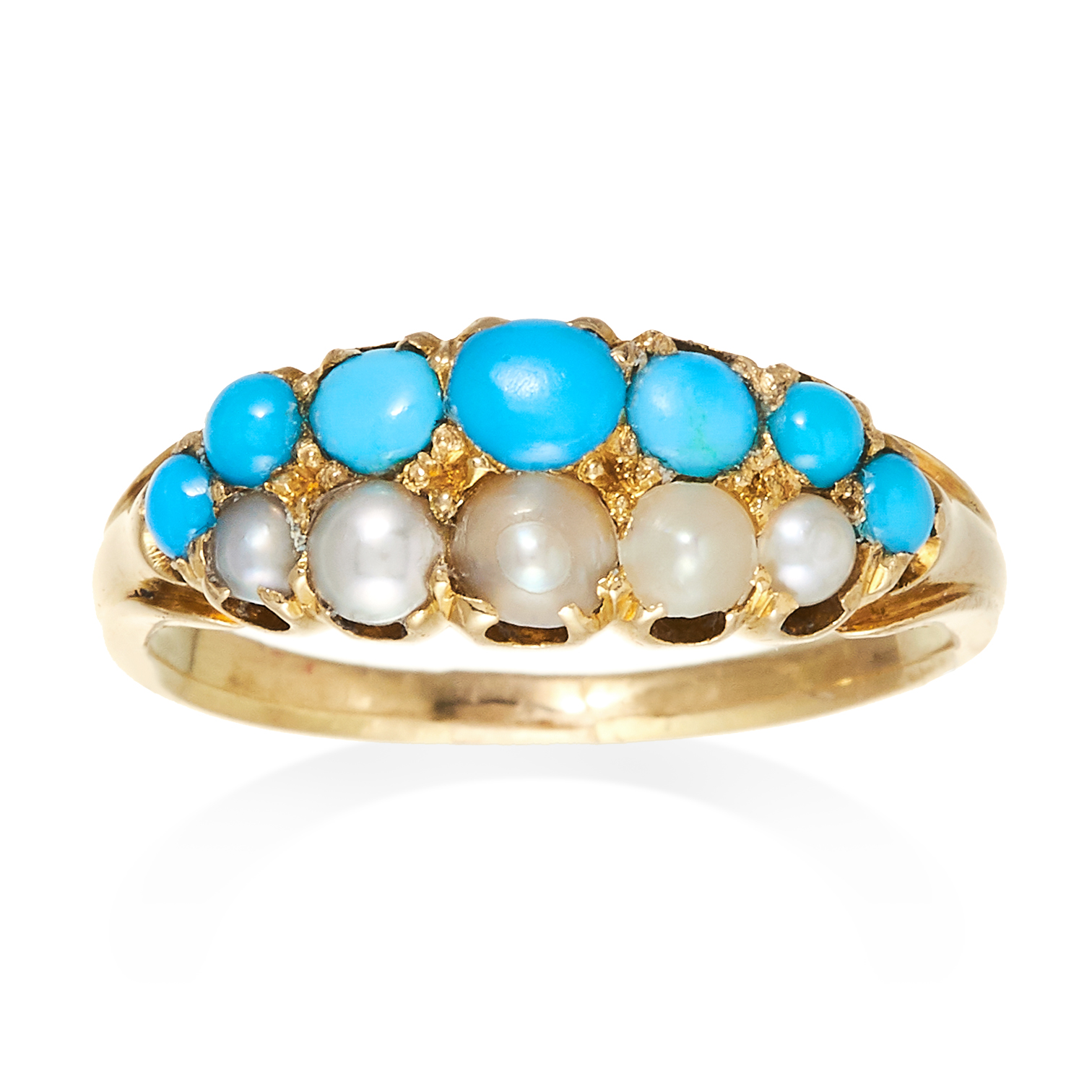 AN ANTIQUE PEARL AND TURQUOISE RING in high carat yellow gold, comprising of two rows of turquoise