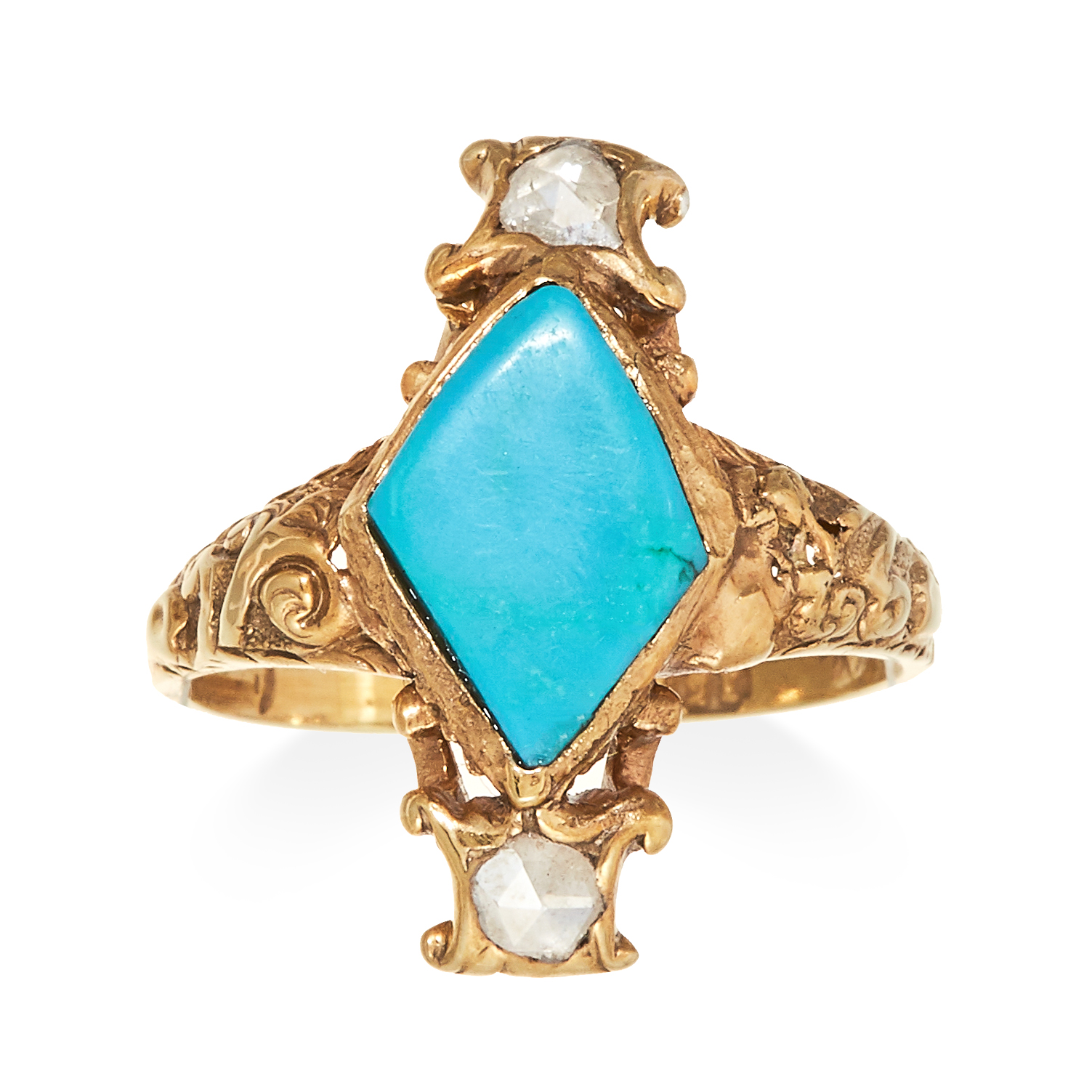 Los 40 - AN ANTIQUE TURQUOISE AND DIAMOND RING in 15 carat yellow gold, set with a central cabochon turquoise