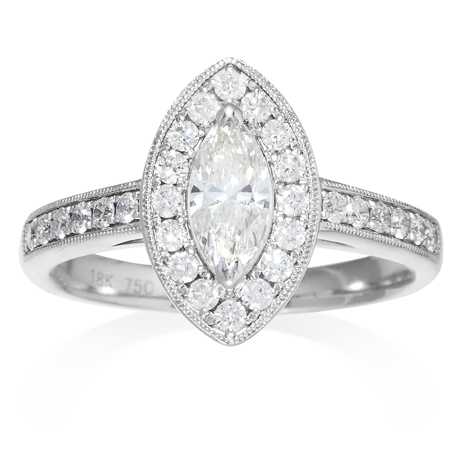 A DIAMOND DRESS RING in 18ct white gold, comprising of a central marquise cut diamond, framed in a